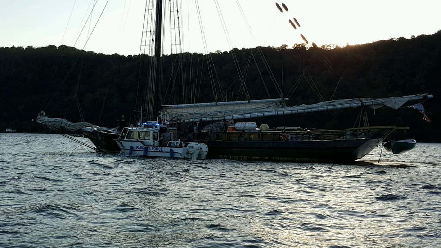 The disabled Clearwater on the Hudson River.
