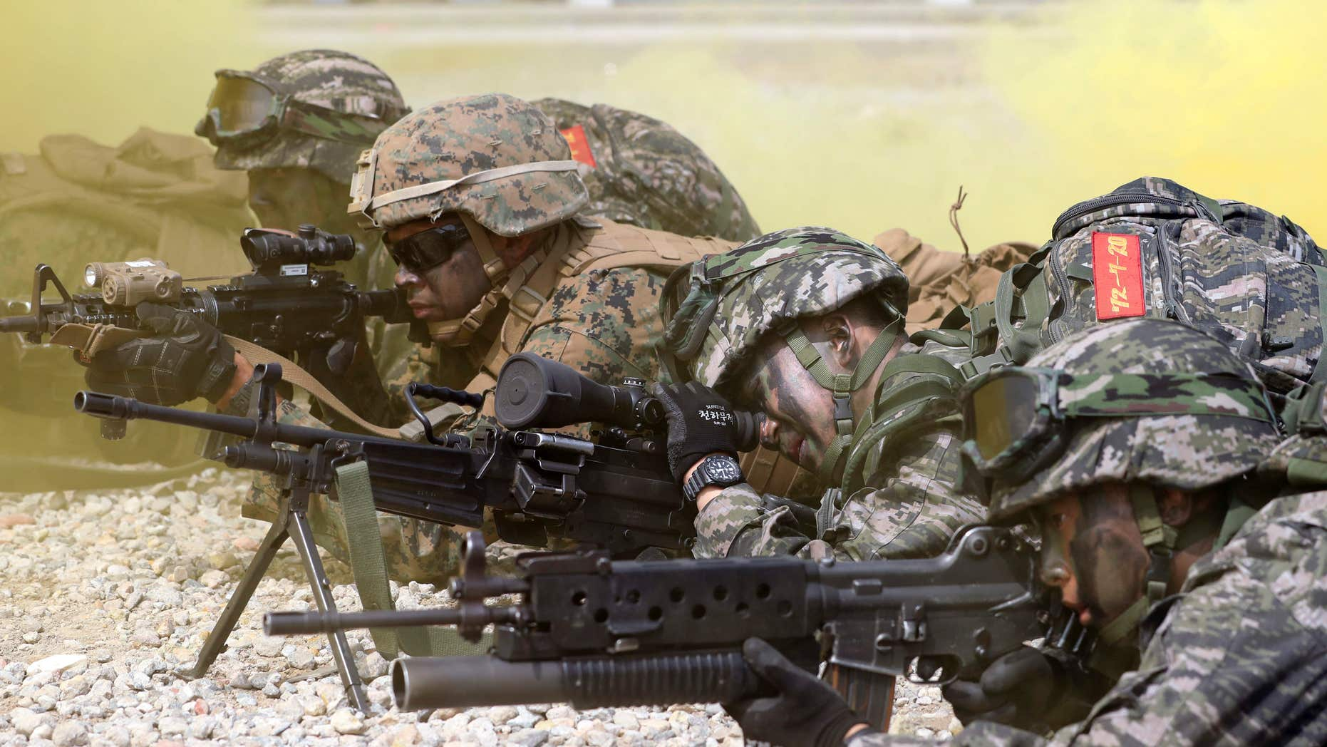 Sept. 9, 2016: South Korean and U.S. Marines aim their guns as they participate in the 66th Incheon Landing Operations Commemoration ceremony in waters off Incheon, South Korea.