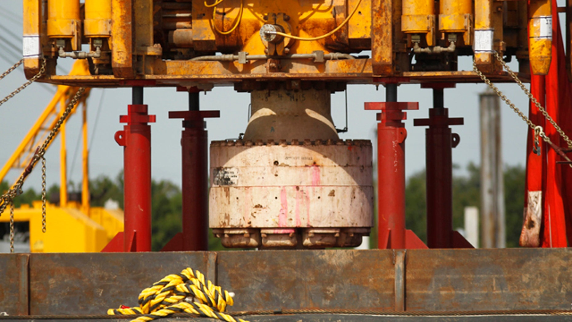 Sept. 13: The bottom of the blowout preventer stack, from the Deepwater Horizon explosion and oil spill, which is being examined as evidence for federal investigations, is seen at the NASA Michaud Assembly facility in New Orleans.
