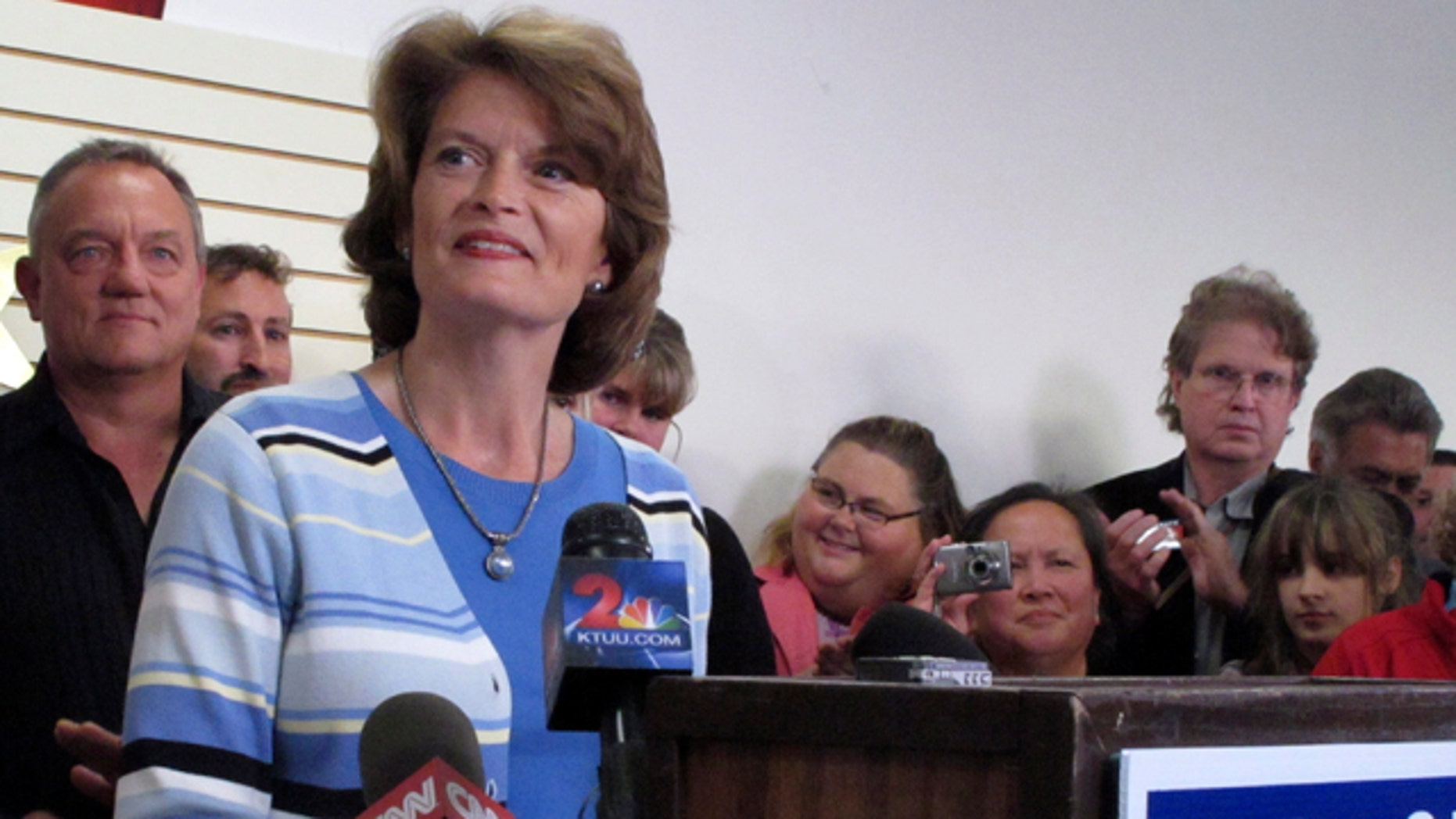 Aug. 31: Sen. Lisa Murkowski gives her concession speech at her campaign headquarters in Anchorage, Alaska.