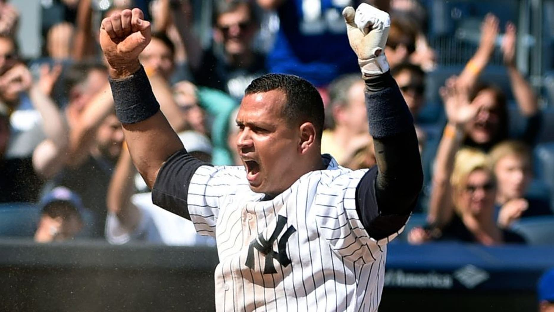 New York Yankees' Alex Rodriguez celebrates after scoring on Didi Gregorius' sacrifice fly in the second inning of a baseball game against the Toronto Blue Jays at Yankee Stadium, Sunday, Sept. 13, 2015, in New York. (AP Photo/Kathy Kmonicek)