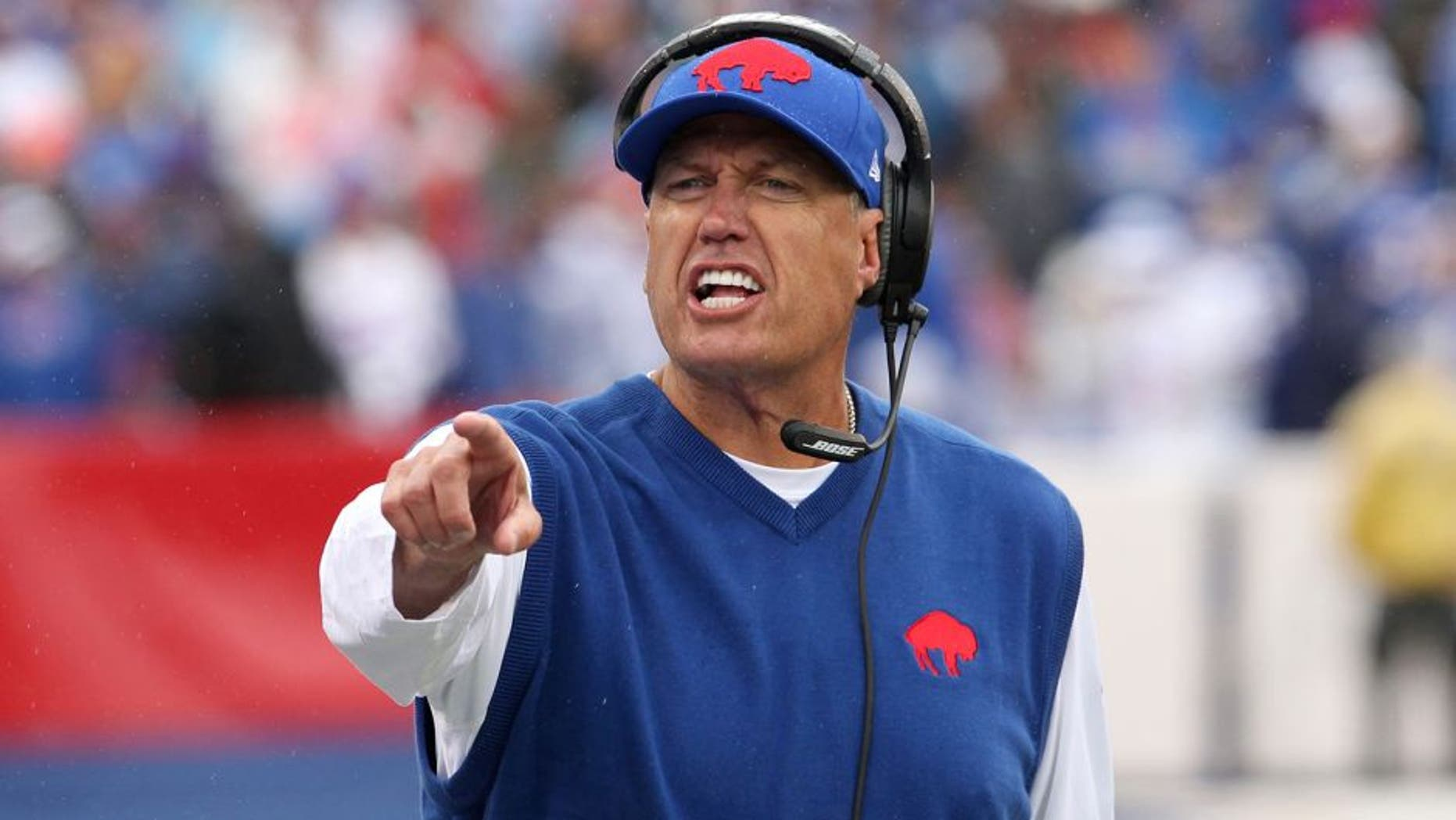 Sep 13, 2015; Orchard Park, NY, USA; Buffalo Bills head coach Rex Ryan yells to players on the bench during the second half against the Indianapolis Colts at Ralph Wilson Stadium. Bills beat the Colts 27 to 14. Mandatory Credit: Timothy T. Ludwig-USA TODAY Sports