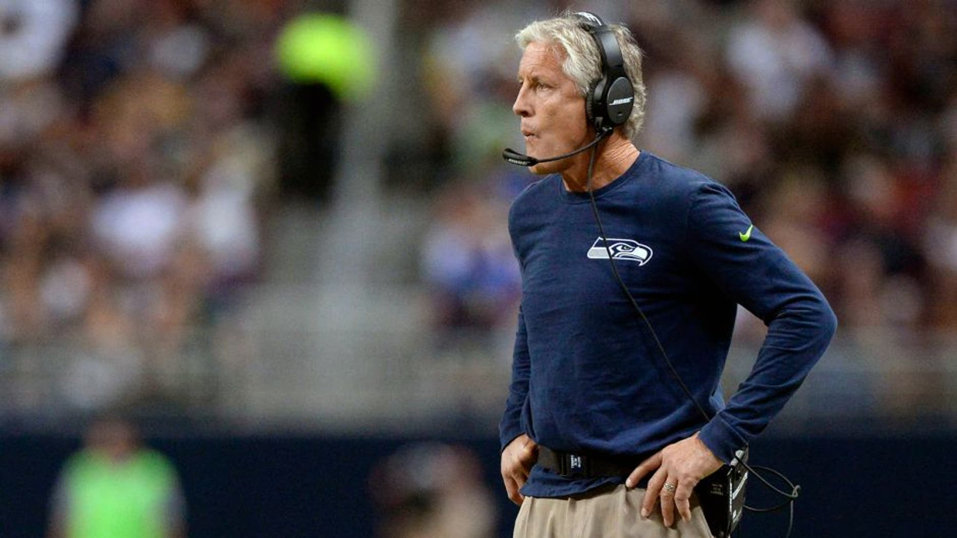 Sep 13, 2015; St. Louis, MO, USA; Seattle Seahawks head coach Pete Carroll looks on as his team plays the St. Louis Rams during the first half at the Edward Jones Dome. Mandatory Credit: Jeff Curry-USA TODAY Sports