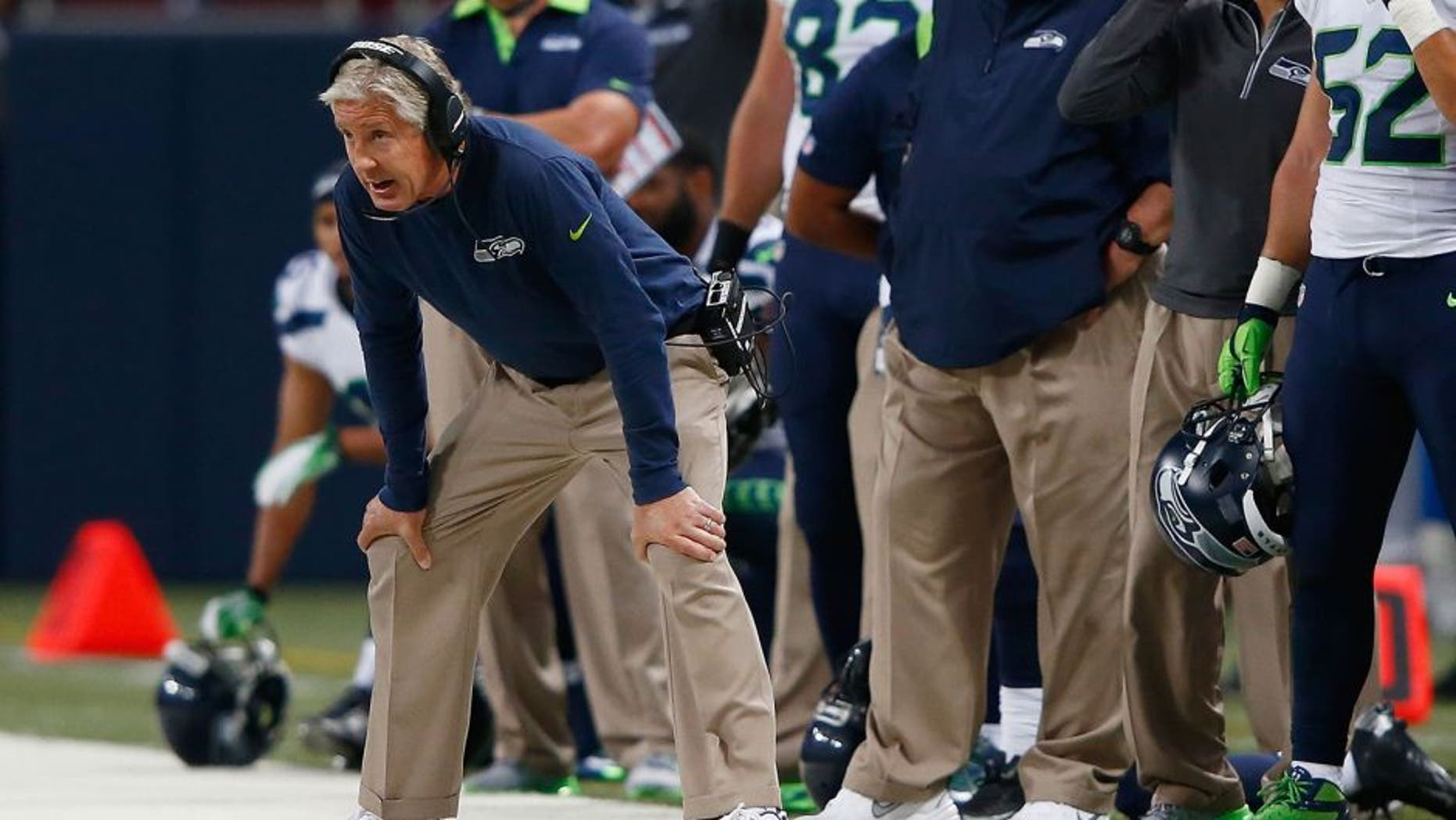 ST. LOUIS, MO - SEPTEMBER 13: Head Coach Pete Carroll of the Seattle Seahawks looks on during the first half against the St. Louis Rams at the Edward Jones Dome on September 13, 2015 in St. Louis, Missouri. (Photo by Jamie Squire/Getty Images)