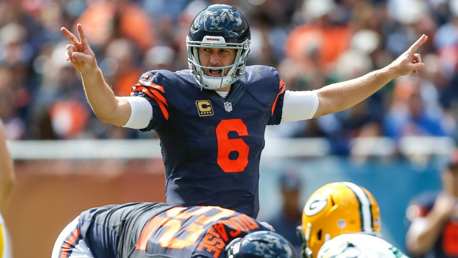CHICAGO, IL - SEPTEMBER 13: Quarterback Jay Cutler #6 of the Chicago Bears calls a play in the first half against the Green Bay Packers at Soldier Field on September 13, 2015 in Chicago, Illinois. (Photo by Wesley Hitt/Getty Images)