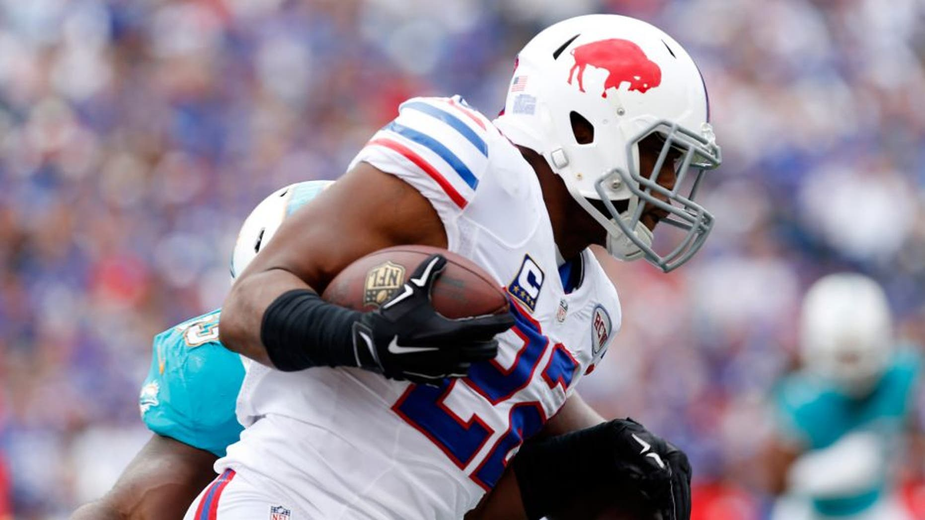 Sep 14, 2014; Orchard Park, NY, USA; Buffalo Bills running back Fred Jackson (22) runs after a catch during the first quarter against the Miami Dolphins at Ralph Wilson Stadium. Mandatory Credit: Kevin Hoffman-USA TODAY Sports