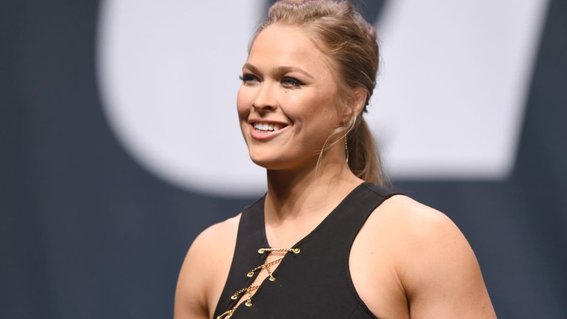 LAS VEGAS, NV - SEPTEMBER 04: UFC women's bantamweight champion Ronda Rousey speaks to the fans during the UFC's Go Big launch event inside MGM Grand Garden Arena on September 4, 2015 in Las Vegas, Nevada. (Photo by Josh Hedges/Zuffa LLC/Zuffa LLC via Getty Images)