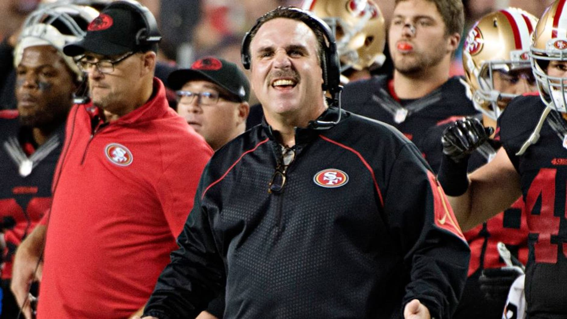 September 14, 2015; Santa Clara, CA, USA; San Francisco 49ers head coach Jim Tomsula reacts against the Minnesota Vikings during the first quarter at Levi's Stadium. Mandatory Credit: Kyle Terada-USA TODAY Sports