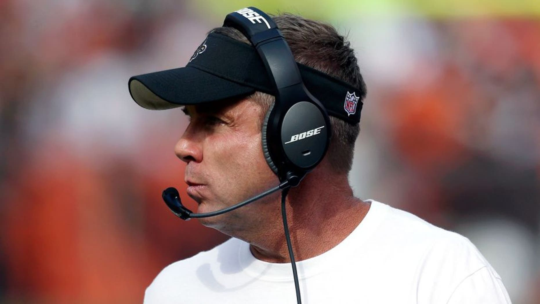 Sep 14, 2014; Cleveland, OH, USA; New Orleans Saints head coach Sean Payton against the Cleveland Browns during the fourth quarter at FirstEnergy Stadium. The Browns won 26-24. Mandatory Credit: Ron Schwane-USA TODAY Sports
