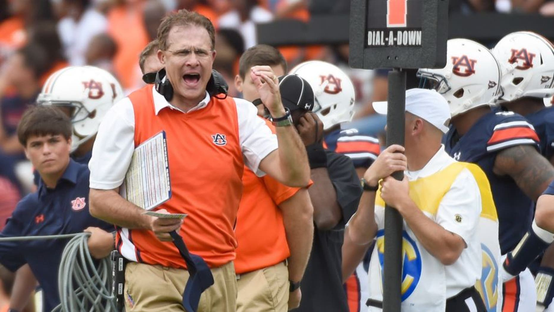 Sep 12, 2015; Auburn, AL, USA; Auburn Tigers head coach Gus Malzahn reacts during the second quarter against the Jacksonville State Gamecocks at Jordan Hare Stadium. Mandatory Credit: Shanna Lockwood-USA TODAY Sports