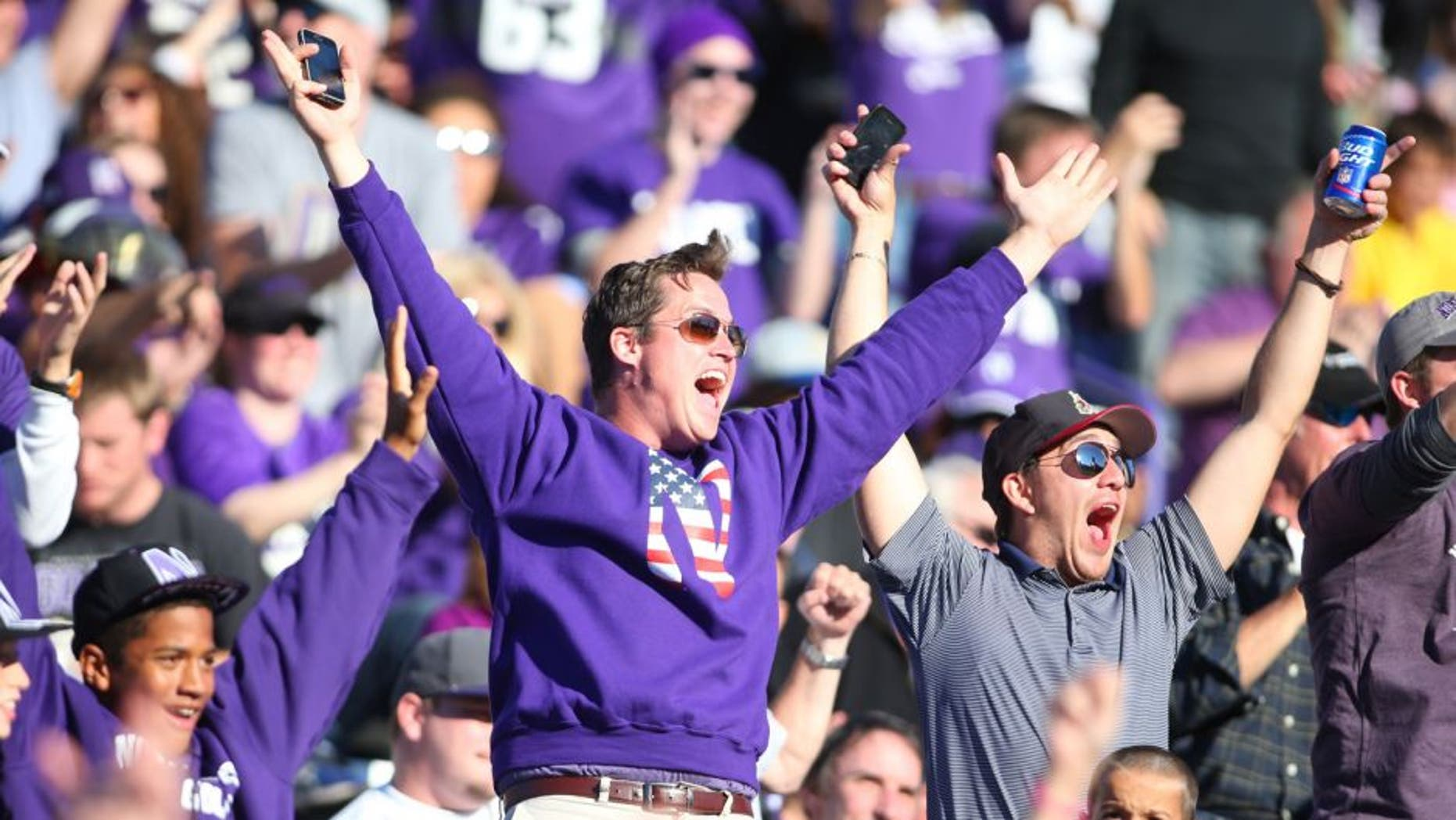 Sep 12, 2015; Evanston, IL, USA; A Northwestern Wildcats fan cheers during the game against the Eastern Illinois Panthers at Ryan Field. Mandatory Credit: Caylor Arnold-USA TODAY Sports
