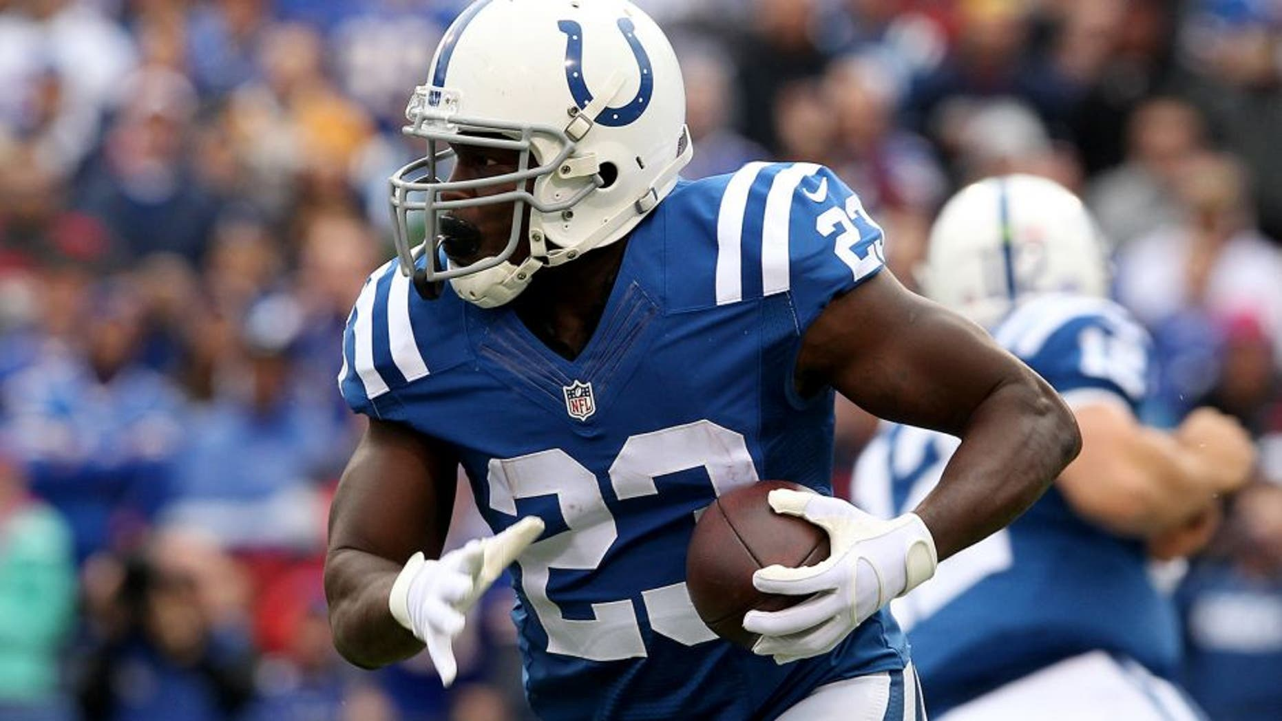 Sep 13, 2015; Orchard Park, NY, USA; Indianapolis Colts running back Frank Gore (23) runs the ball during the first half against the Buffalo Bills at Ralph Wilson Stadium. Mandatory Credit: Timothy T. Ludwig-USA TODAY Sports