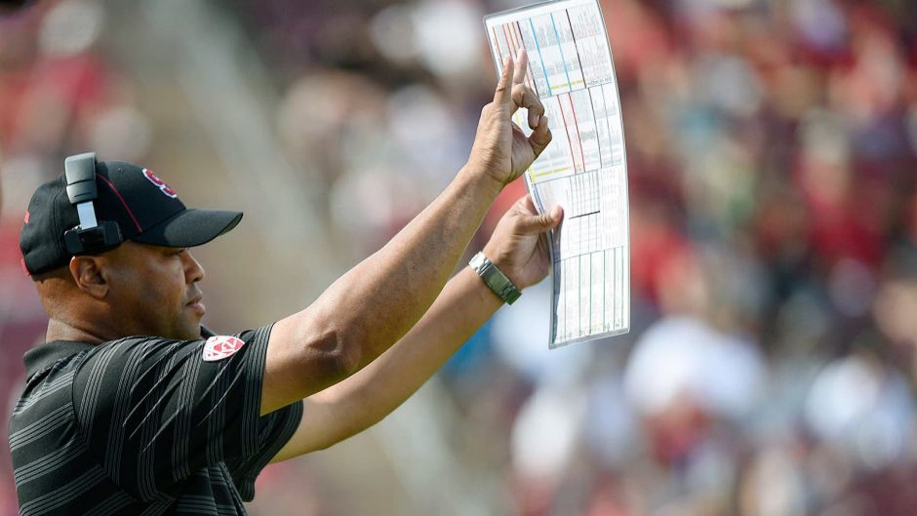 September 13, 2014; Stanford, CA, USA; Stanford Cardinal head coach David Shaw instructs against the Army Black Knights during the third quarter at Stanford Stadium. Stanford defeated Army 35-0. Mandatory Credit: Kyle Terada-USA TODAY Sports