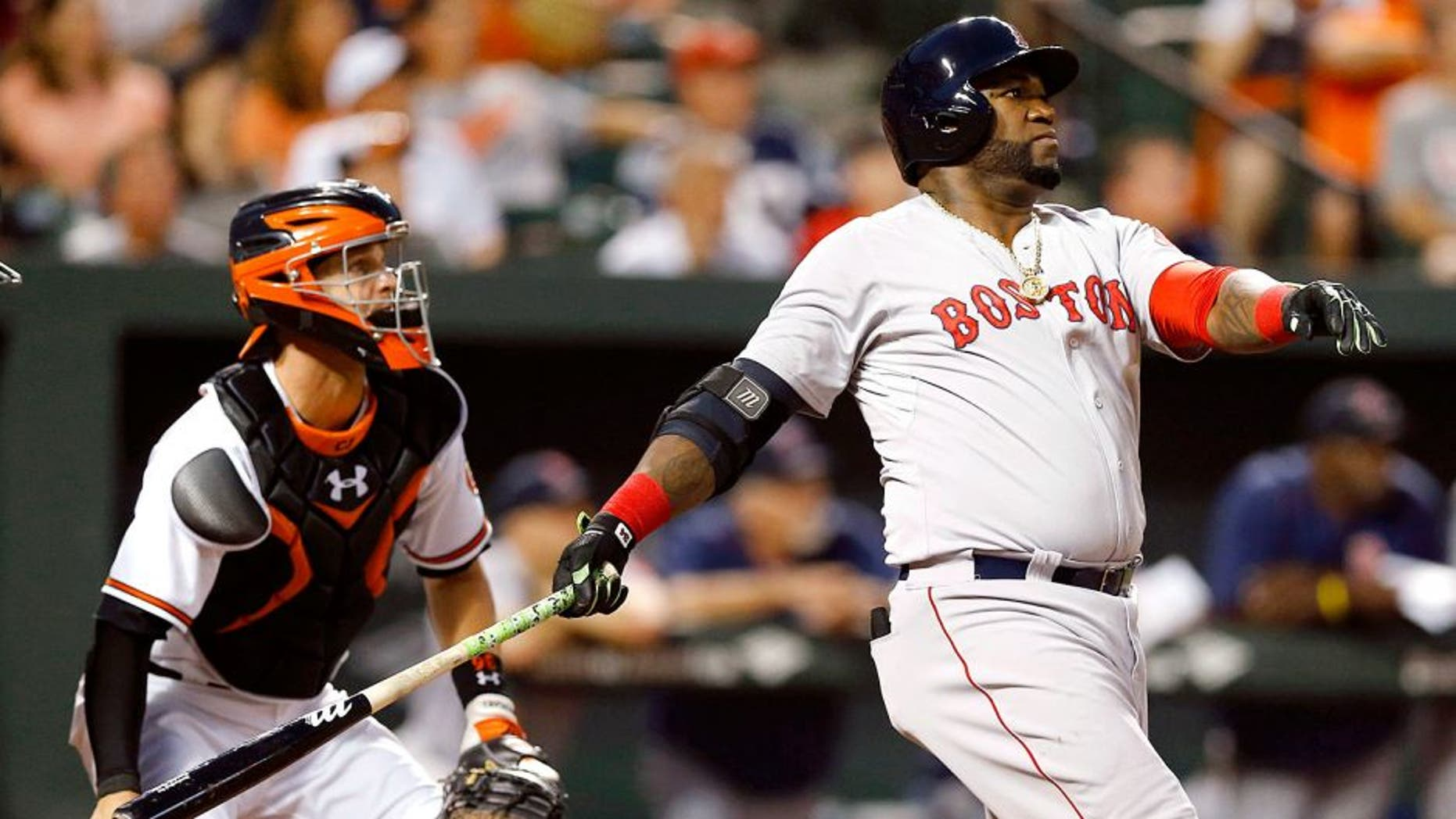 RETRANSMISSION TO CORRECT NAME OF CATCHER TO CALEB JOSEPH FROM MATT WIETERS - Boston Red Sox's David Ortiz, right, watches his solo home run in front of Baltimore Orioles catcher Caleb Joseph in the second inning of a baseball game, Wednesday, Sept. 16, 2015, in Baltimore. (AP Photo/Patrick Semansky)