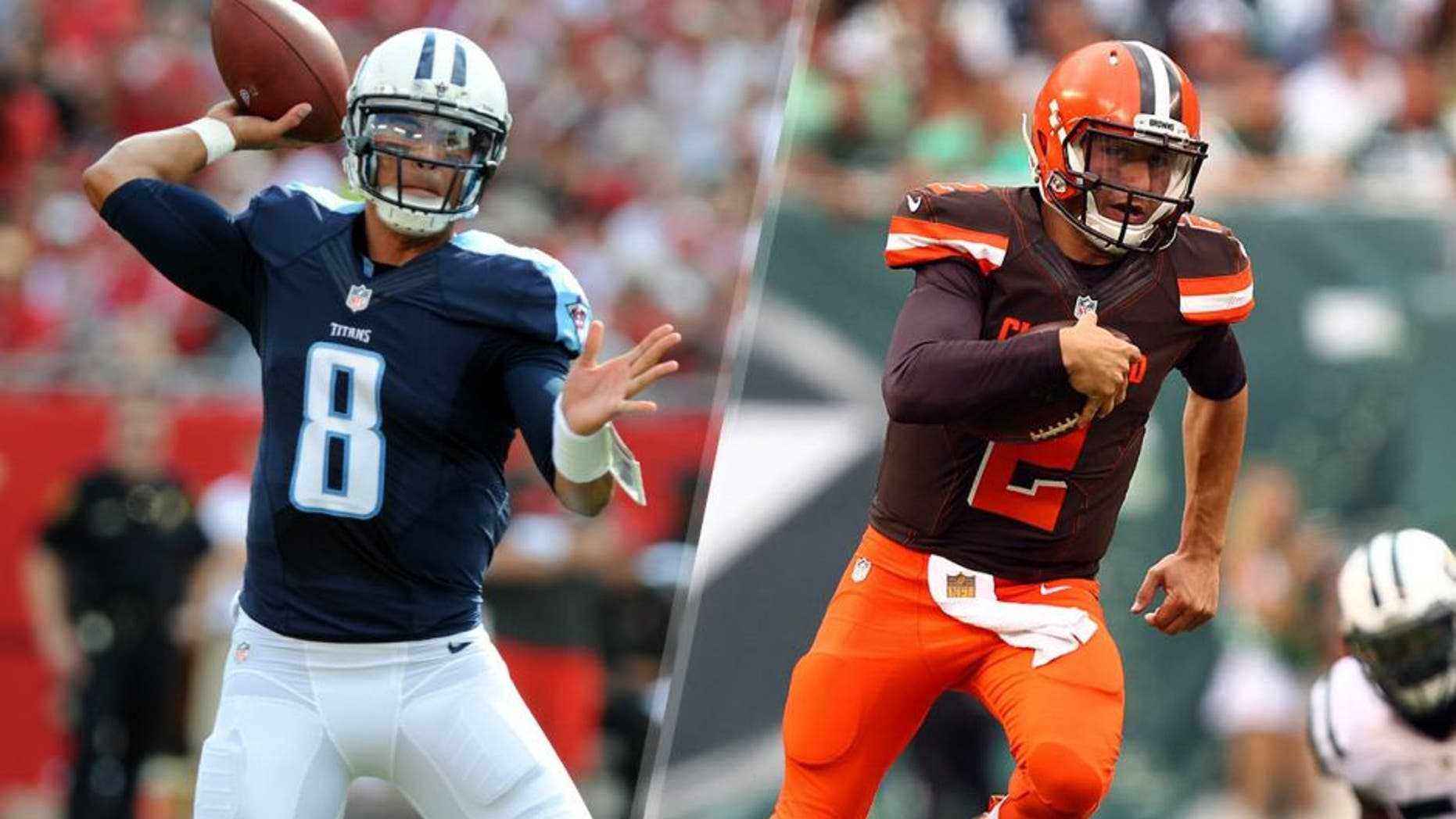 TAMPA, FL - SEPTEMBER 13: Quarterback Marcus Mariota #8 of the Tennessee Titans throws a twelve yard TD against the Tampa Bay Buccaneers in the first quarter at Raymond James Stadium on September 13, 2015 in Tampa, Florida. (Photo by Cliff McBride/Getty Images) Sep 13, 2015; East Rutherford, NJ, USA; Cleveland Browns quarterback Johnny Manziel (2) runs with the ball against the New York Jets during the second half at MetLife Stadium. Mandatory Credit: Danny Wild-USA TODAY Sports