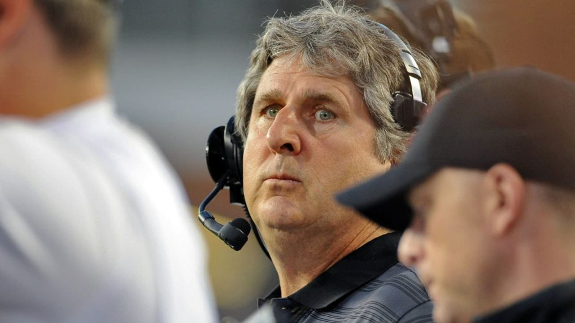 Sep 13, 2014; Pullman, WA, USA; Washington State Cougars head coach Mike Leach looks on against thePortland State Vikings during the second half at Martin Stadium. The Cougar beat Vikings 59-21. Mandatory Credit: James Snook-USA TODAY Sports