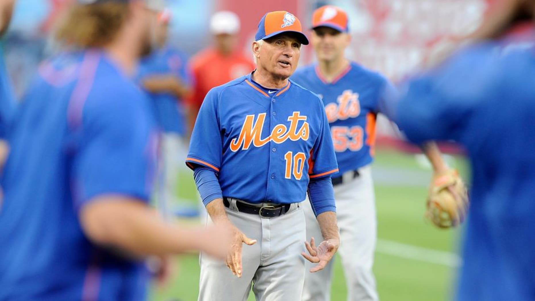 WASHINGTON, DC - SEPTEMBER 08: Terry Collins #10 of the New York Mets watches batting practice before the game against the Washington Nationals at Nationals Park on September 8, 2015 in Washington, DC. (Photo by Greg Fiume/Getty Images)