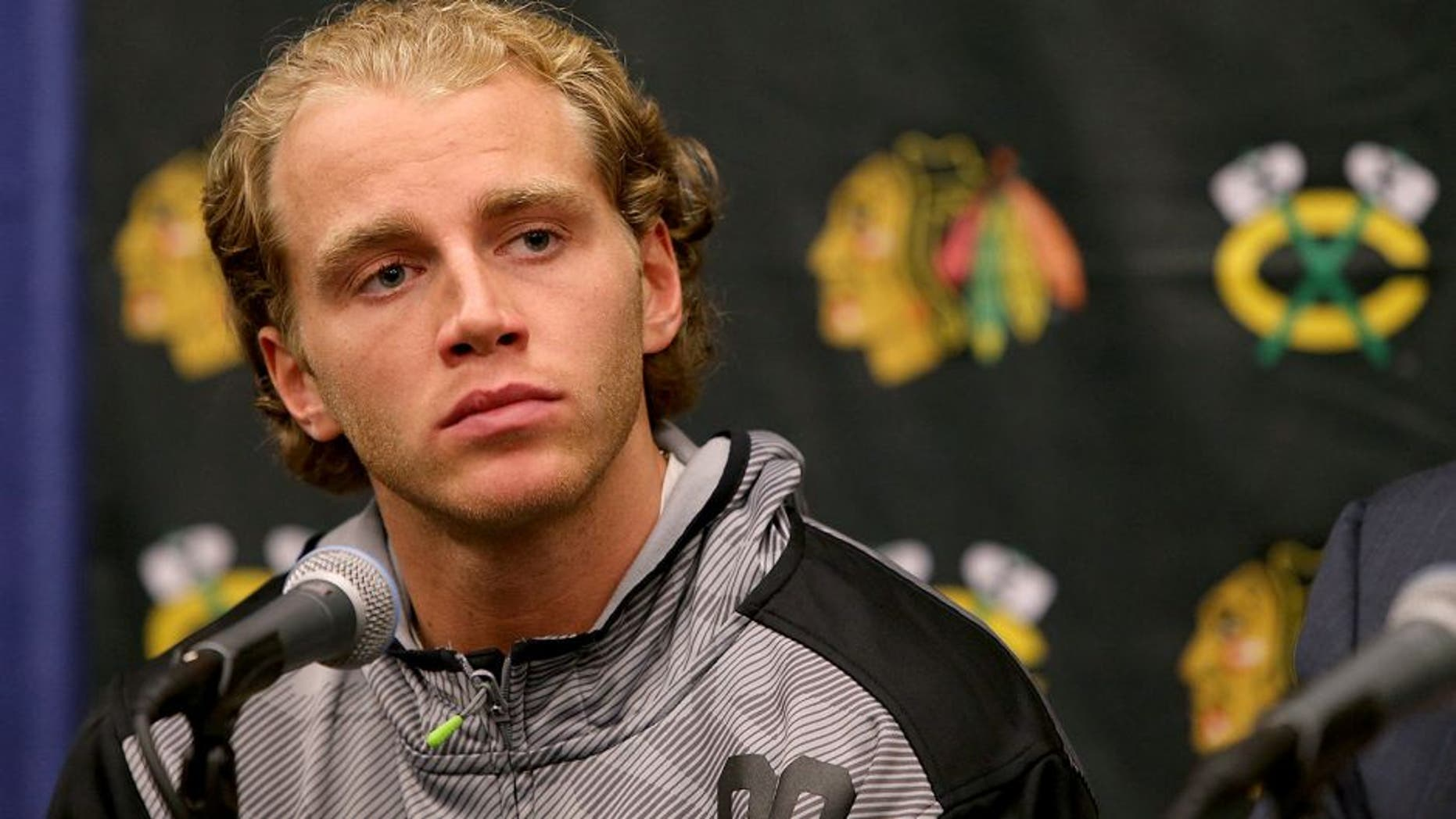 Patrick Kane is seen at a press conference before the start of the Chicago Blackhawks training camp on Thursday, Sept. 17, 2015, at the University of Notre Dame's Compton Family Ice Center in South Bend, Ind. (Antonio Perez/Chicago Tribune/TNS via Getty Images)