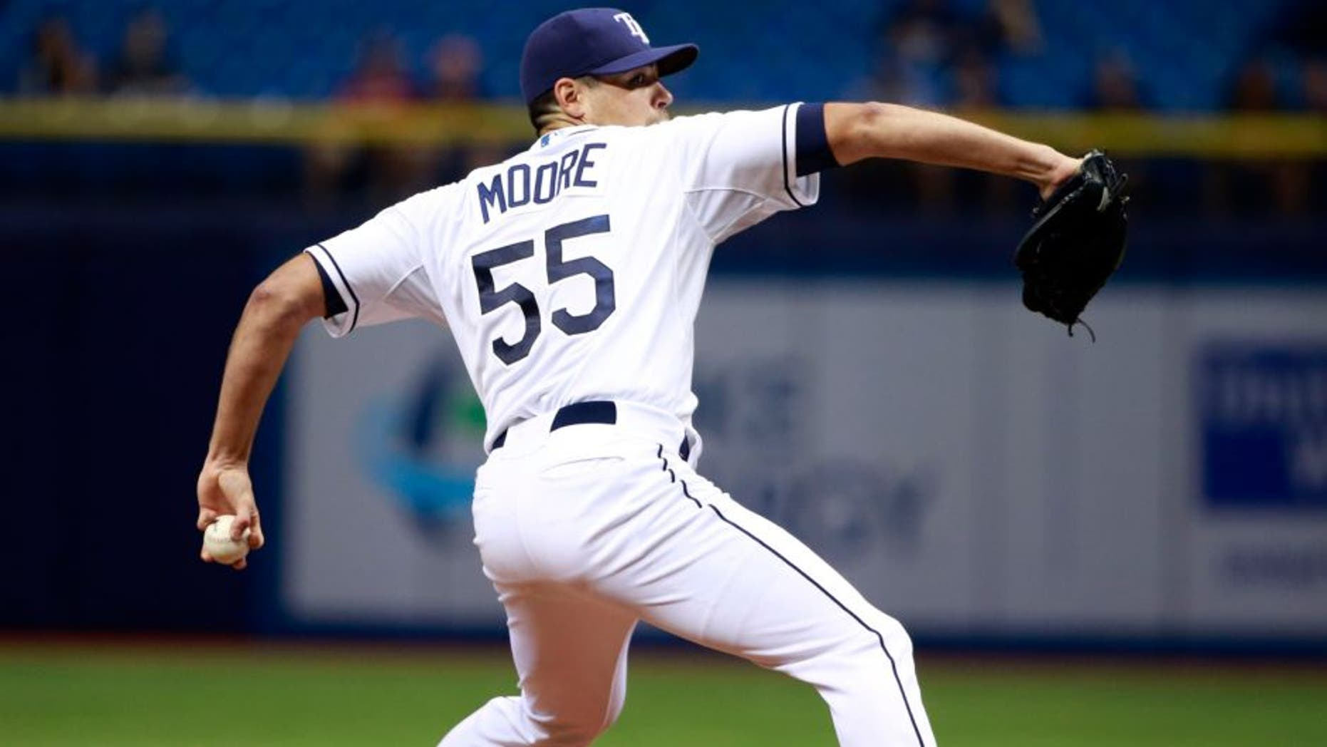 Sep 17, 2015; St. Petersburg, FL, USA; Tampa Bay Rays starting pitcher Matt Moore (55) throws a pitch against the Baltimore Orioles during the second inning at Tropicana Field. Mandatory Credit: Kim Klement-USA TODAY Sports