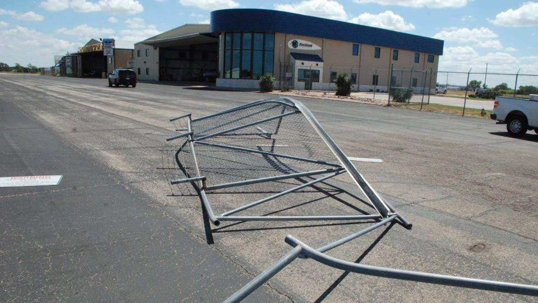 Sept. 17, 2015: Photo from Waco Police Department showing the security gate a man crashed through at Waco Regional Airport.