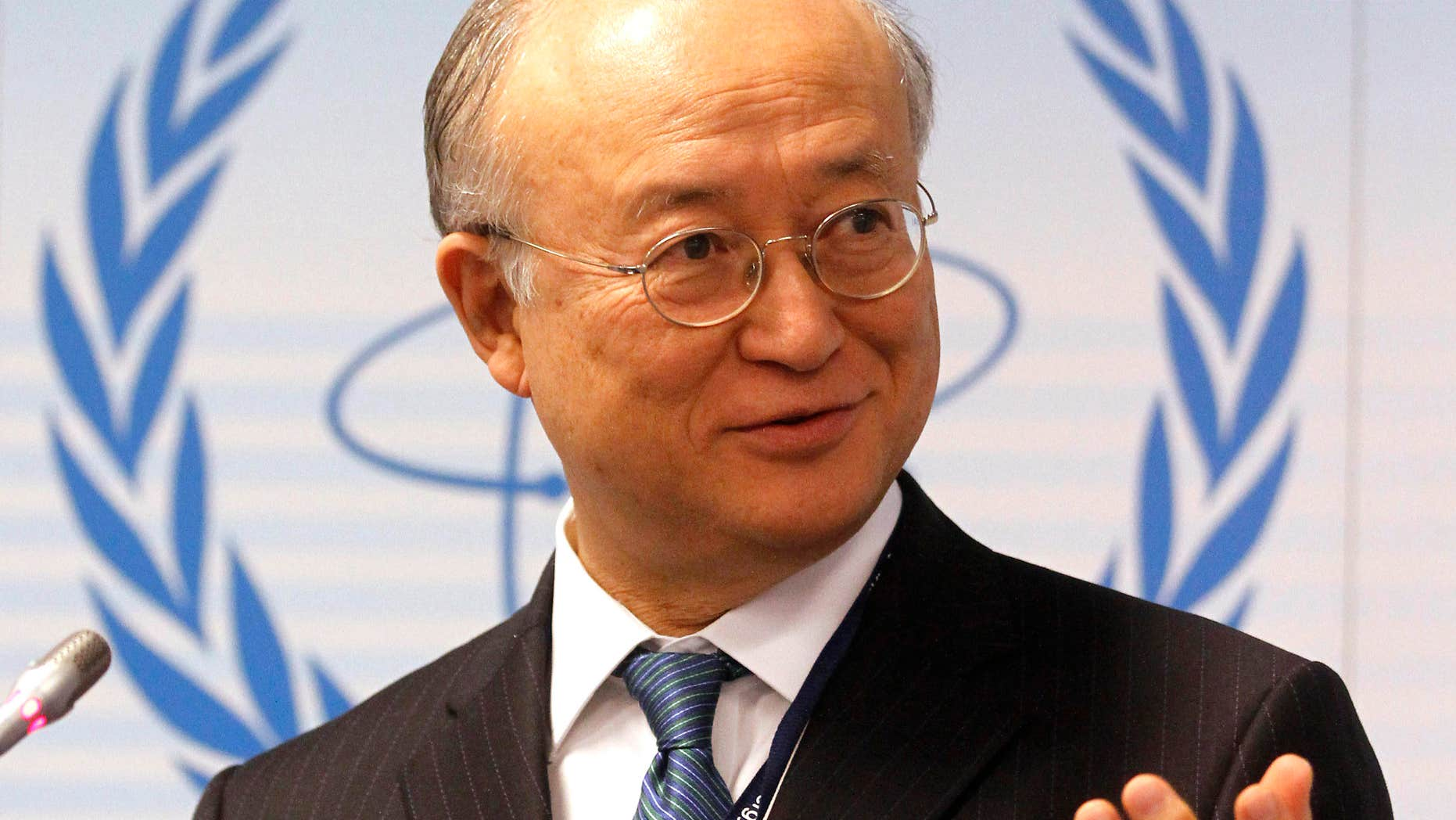 File-This April 4, 2011, file photo shows Director General of the International Atomic Energy Agency, IAEA, Yukiya Amano from Japan speaking during a news conference of the IAEA's Parties to Nuclear Safety Convention Hold Review at the International Center in Vienna, Austria.