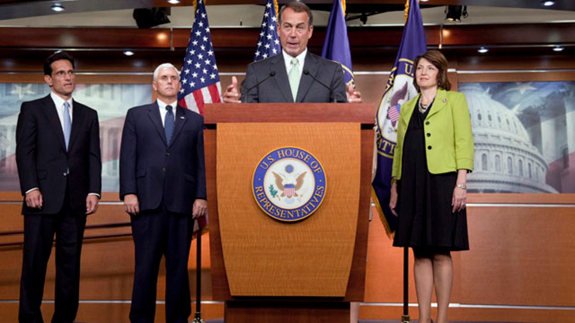 Sept. 15: House Minority Leader John Boehner of Ohio, gestures during a news conference on Capitol Hill in Washington. From left are, House Minority Whip Eric Cantor of Va., Rep. Mike Pence, R-Ind., Boehner, and Rep. Cathy McMorris Rodgers, R-Wash.