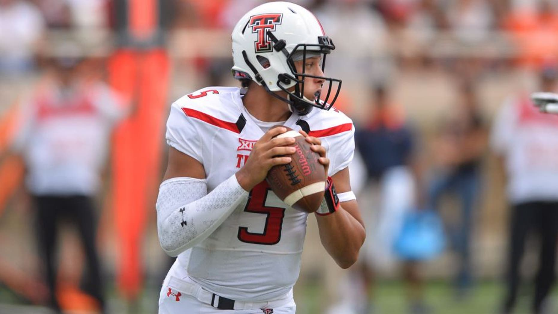 LUBBOCK, TX - SEPTEMBER 12: Patrick Mahomes #5 of the Texas Tech Red Raiders looks to pass during the game against the UTEP Miners on September 12, 2015 at Jones AT&T Stadium in Lubbock, Texas.Texas Tech won the game 69-20. (Photo by John Weast/Getty Images)