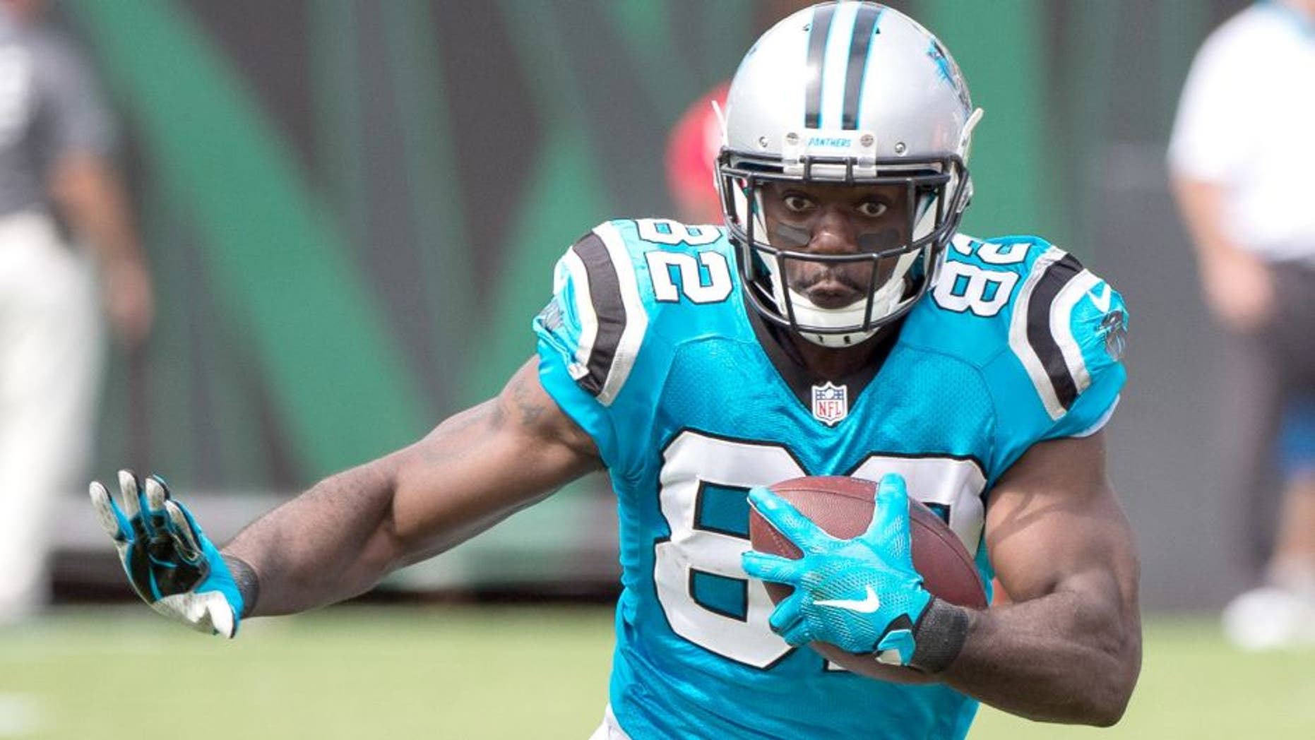 Sep 13, 2015; Jacksonville, FL, USA; Carolina Panthers wide receiver Jerricho Cotchery (82) runs with the ball during the game against the Jacksonville Jaguars at EverBank Field. The Panthers defeat the Jaguars 20-9. Mandatory Credit: Jerome Miron-USA TODAY Sports