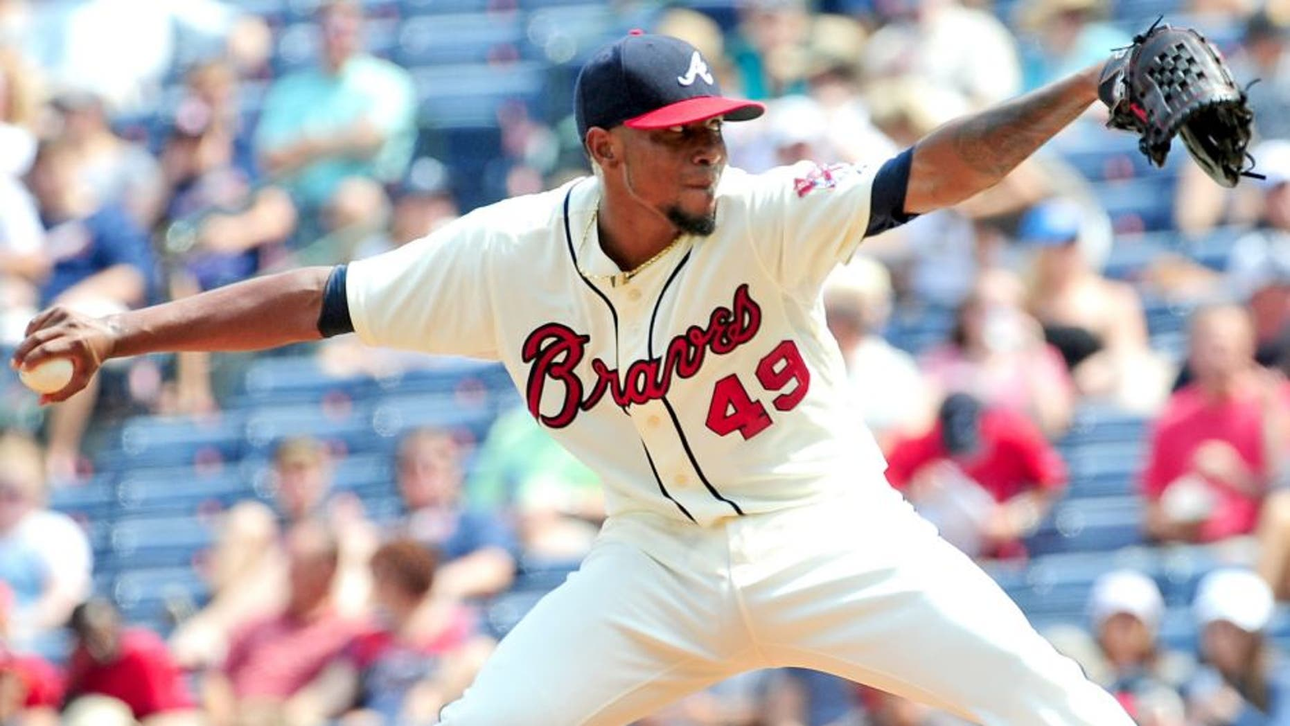 ATLANTA, GA - SEPTEMBER 20: Julio Teheran #49 of the Atlanta Braves throws a second inning pitch against the Philadelphia Philiies at Turner Field on September 20, 2015 in Atlanta, Georgia. (Photo by Scott Cunningham/Getty Images)