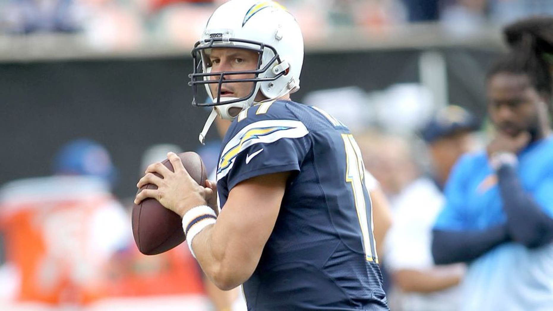 CINCINNATI, OH - SEPTEMBER 20: Philip Rivers #17 of the San Diego Chargers warms up prior to the game against the Cincinnati Bengals at Paul Brown Stadium on September 20, 2015 in Cincinnati, Ohio. (Photo by John Grieshop/Getty Images)