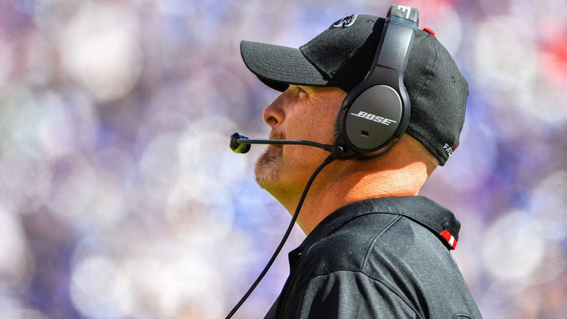 EAST RUTHERFORD, NJ - SEPTEMBER 20: Head coach Dan Quinn of the Atlanta Falcons looks on during a game against the New York Giants at MetLife Stadium on September 20, 2015 in East Rutherford, New Jersey. (Photo by Alex Goodlett/Getty Images)