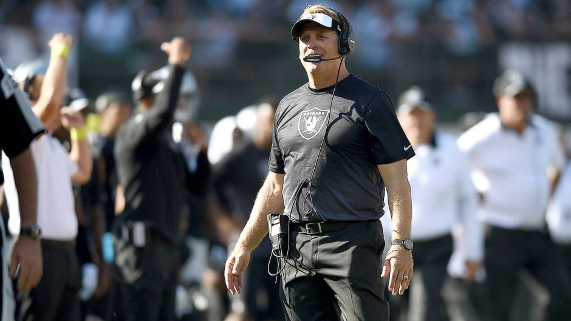 OAKLAND, CA - SEPTEMBER 20: head coach Jack Del Rio of the Oakland Raiders watches the replay in the fourth quarter against the Baltimore Ravens at Oakland-Alameda County Coliseum on September 20, 2015 in Oakland, California. (Photo by Thearon W. Henderson/Getty Images)
