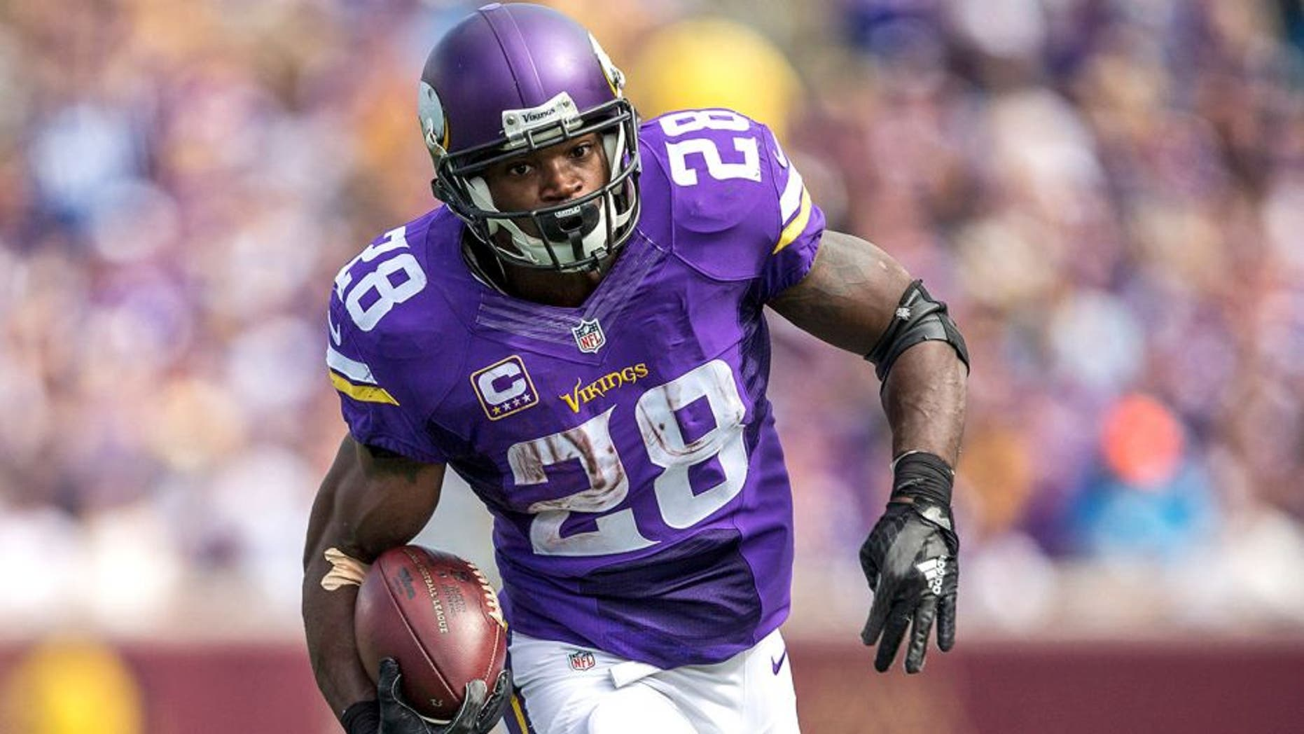 Sep 20, 2015; Minneapolis, MN, USA; Minnesota Vikings running back Adrian Peterson (28) rushes with the ball in the second half against the Detroit Lions at TCF Bank Stadium. The Vikings won 26-16. Mandatory Credit: Jesse Johnson-USA TODAY Sports