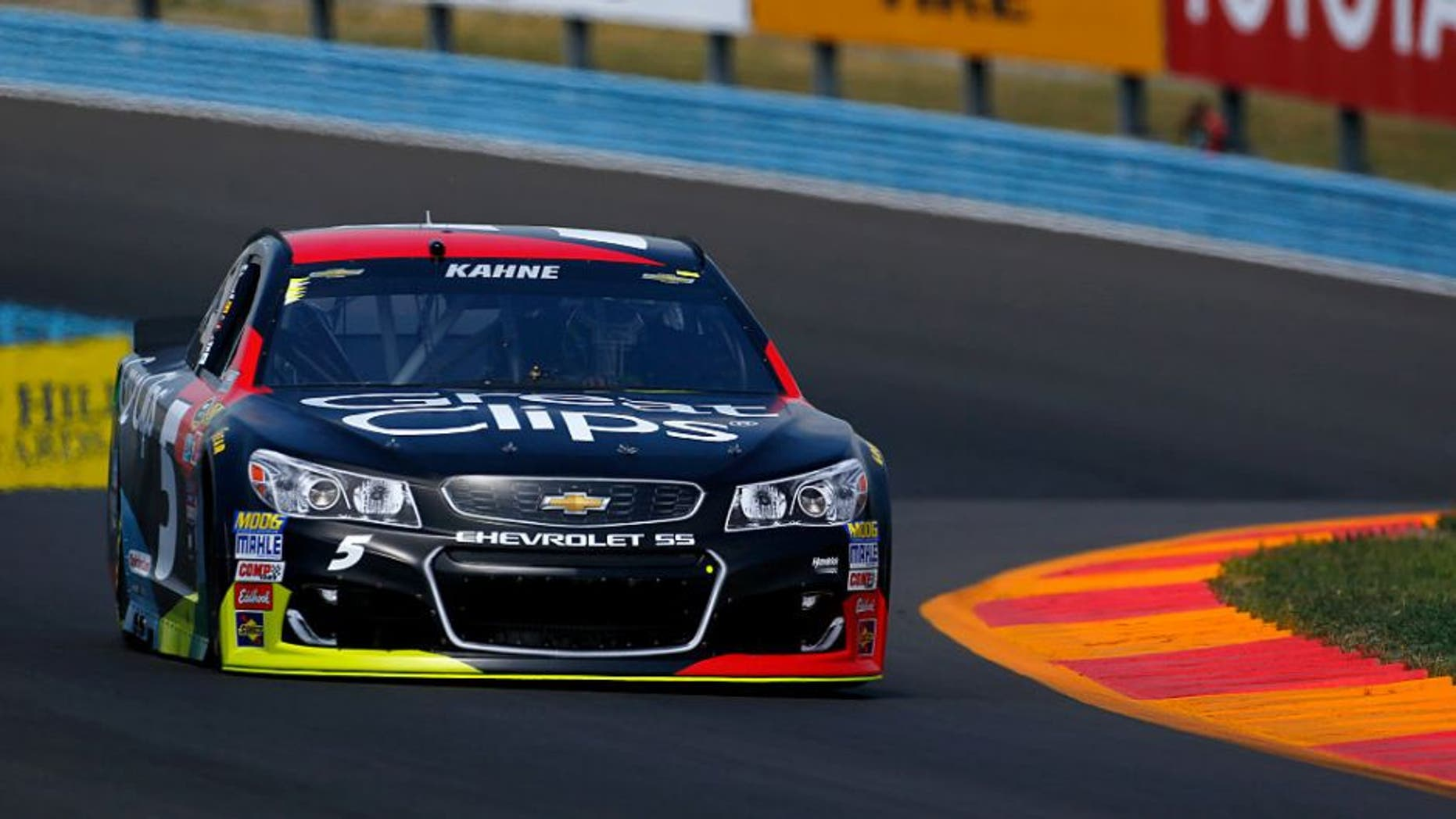 WATKINS GLEN, NY - AUGUST 05: Kasey Kahne, driver of the #5 Great Clips Chevrolet, drives during practice for the NASCAR Sprint Cup Series Cheez-It 355 at Watkins Glen International on August 5, 2016 in Watkins Glen, New York. (Photo by Jonathan Ferrey/NASCAR via Getty Images)