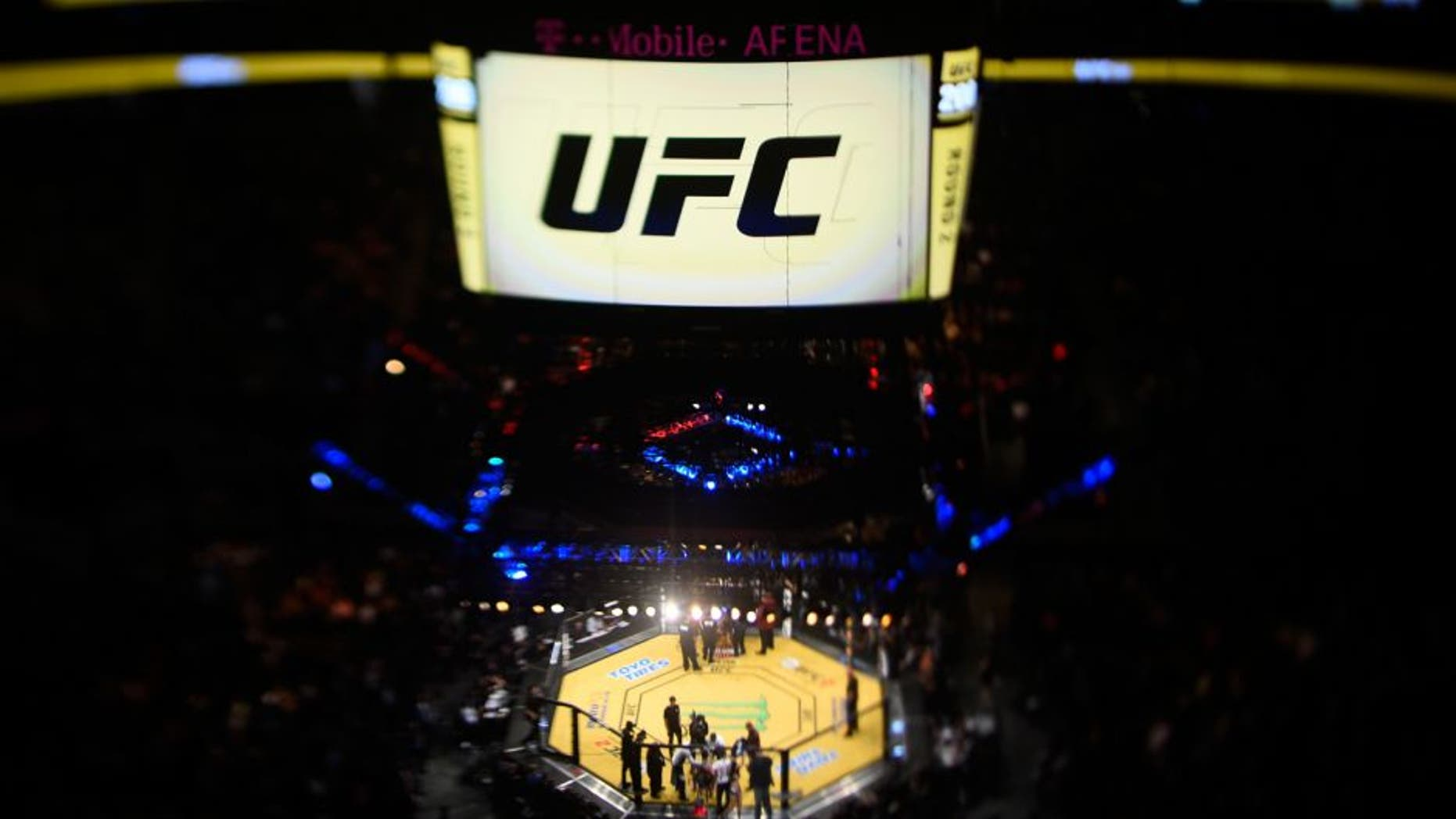 LAS VEGAS, NV - JULY 09: (EDITORS NOTE: Image was created using a variable planed lens.) An overhead view of the Octagon during the UFC 200 event on July 9, 2016 at T-Mobile Arena in Las Vegas, Nevada. (Photo by Jeff Bottari/Zuffa LLC/Zuffa LLC via Getty Images)