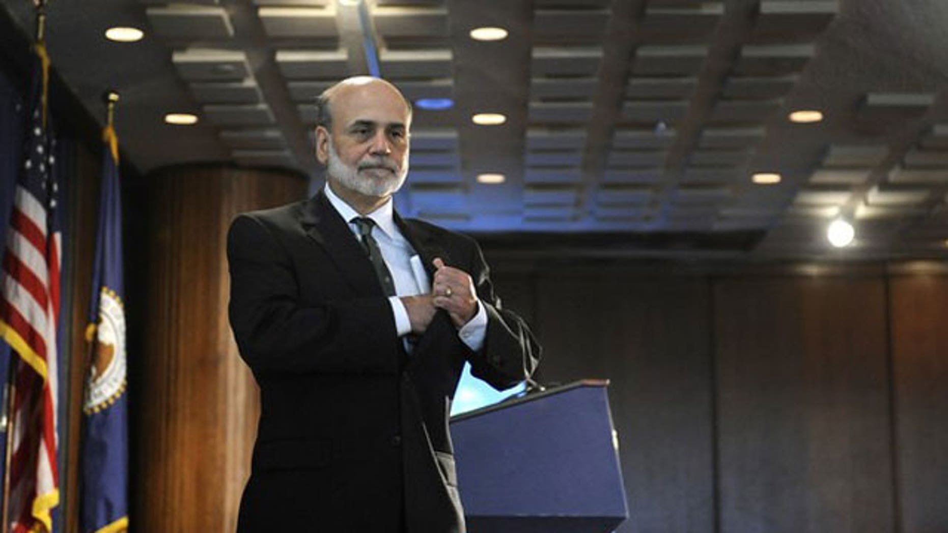 September 15: U.S. Federal Reserve Chairman Ben Bernanke departs the lectern after speaking at a conference on systemic risk, at the Federal Reserve in Washington.