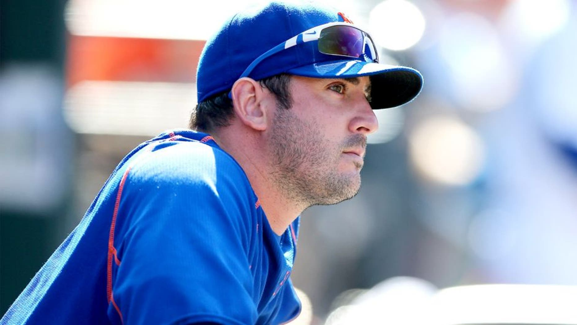 NEW YORK, NY - SEPTEMBER 19: Matt Harvey #33 of the New York Mets looks on from the dugout in the seventh inning against the New York Yankees during interleague play on September 19, 2015 at Citi Field in the Flushing neighborhood of the Queens borough of New York City. (Photo by Elsa/Getty Images)