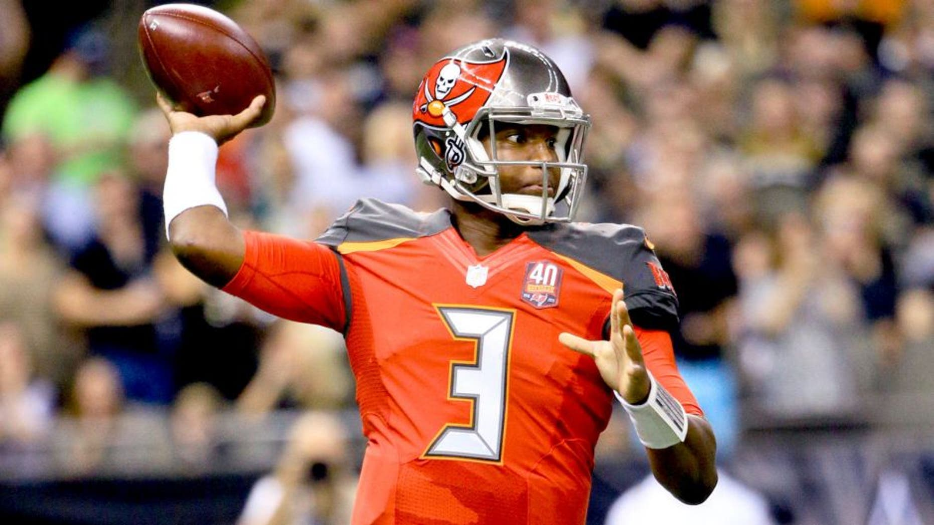 Sep 20, 2015; New Orleans, LA, USA; Tampa Bay Buccaneers quarterback Jameis Winston (3) throws the ball against the New Orleans Saints during the second quarter at the Mercedes-Benz Superdome. Mandatory Credit: Derick E. Hingle-USA TODAY Sports