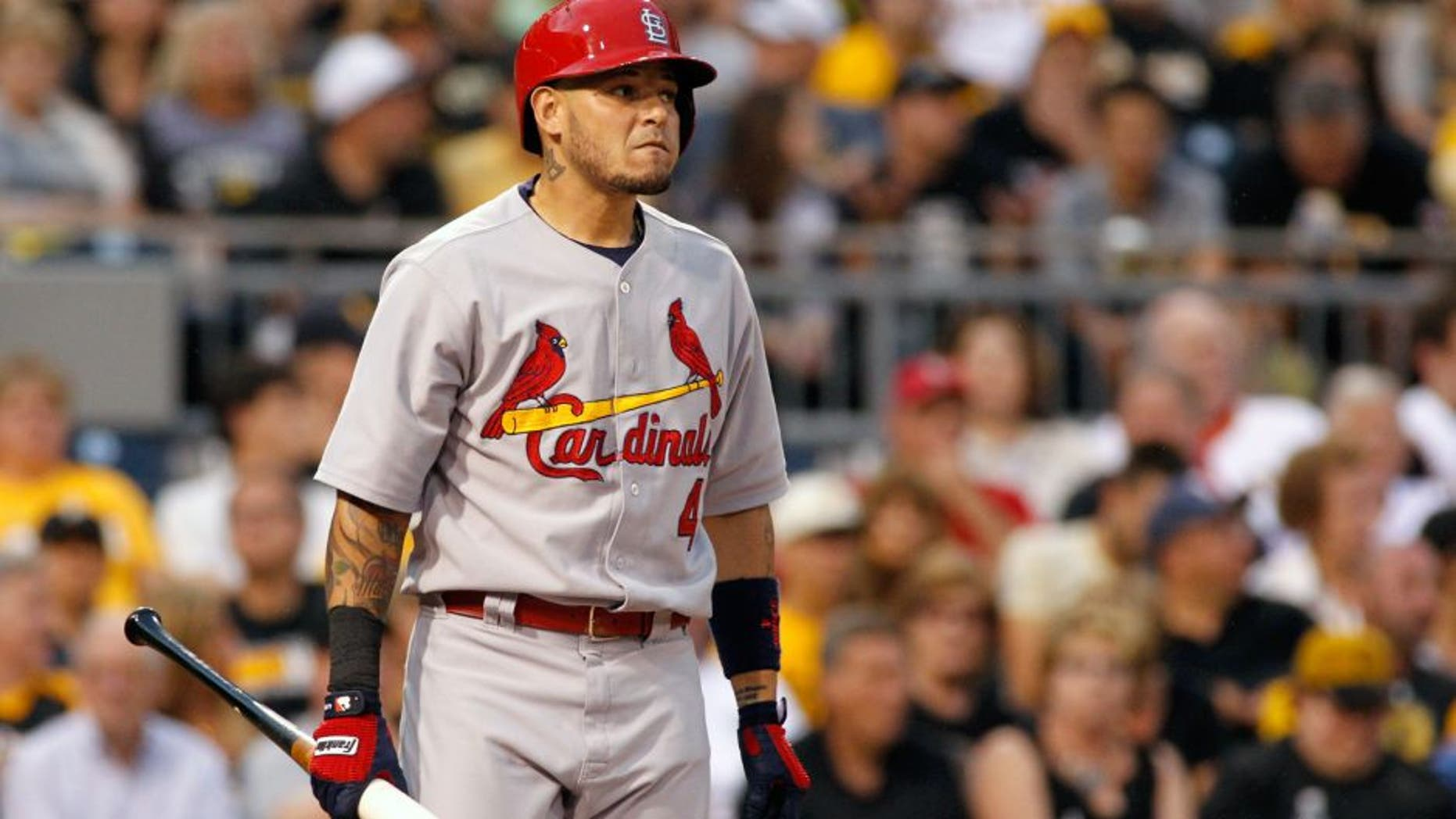 PITTSBURGH, PA - JULY 12: Yadier Molina #4 of the St. Louis Cardinals bats during the game against the Pittsburgh Pirates at PNC Park on July 12, 2015 in Pittsburgh, Pennsylvania. (Photo by Justin K. Aller/Getty Images)