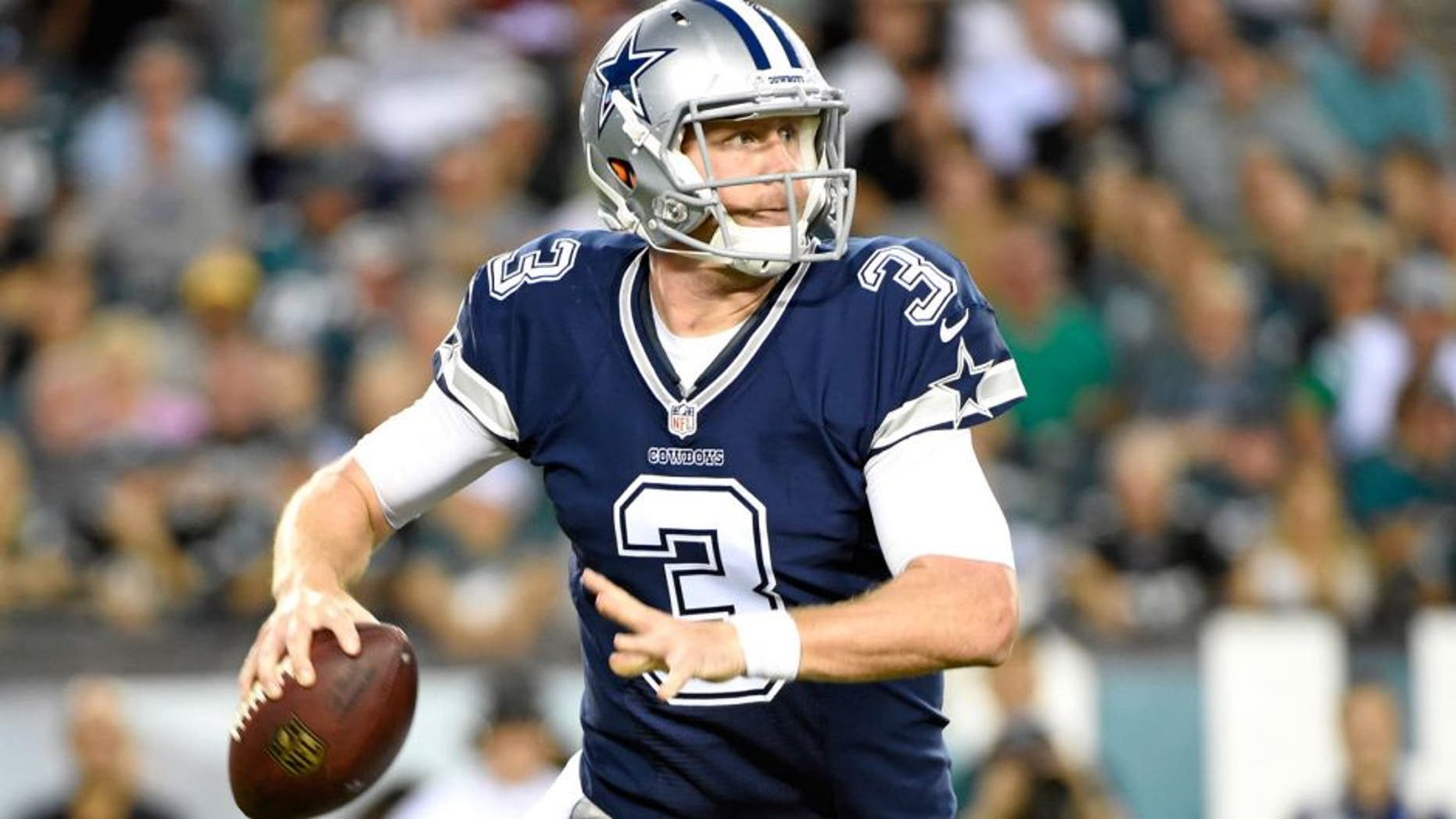 Sep 20, 2015; Philadelphia, PA, USA; Dallas Cowboys quarterback Brandon Weeden (3) throws a pass against the Philadelphia Eagles during the second half at Lincoln Financial Field. The Cowboys defeated the Eagles, 20-10. Mandatory Credit: Eric Hartline-USA TODAY Sports