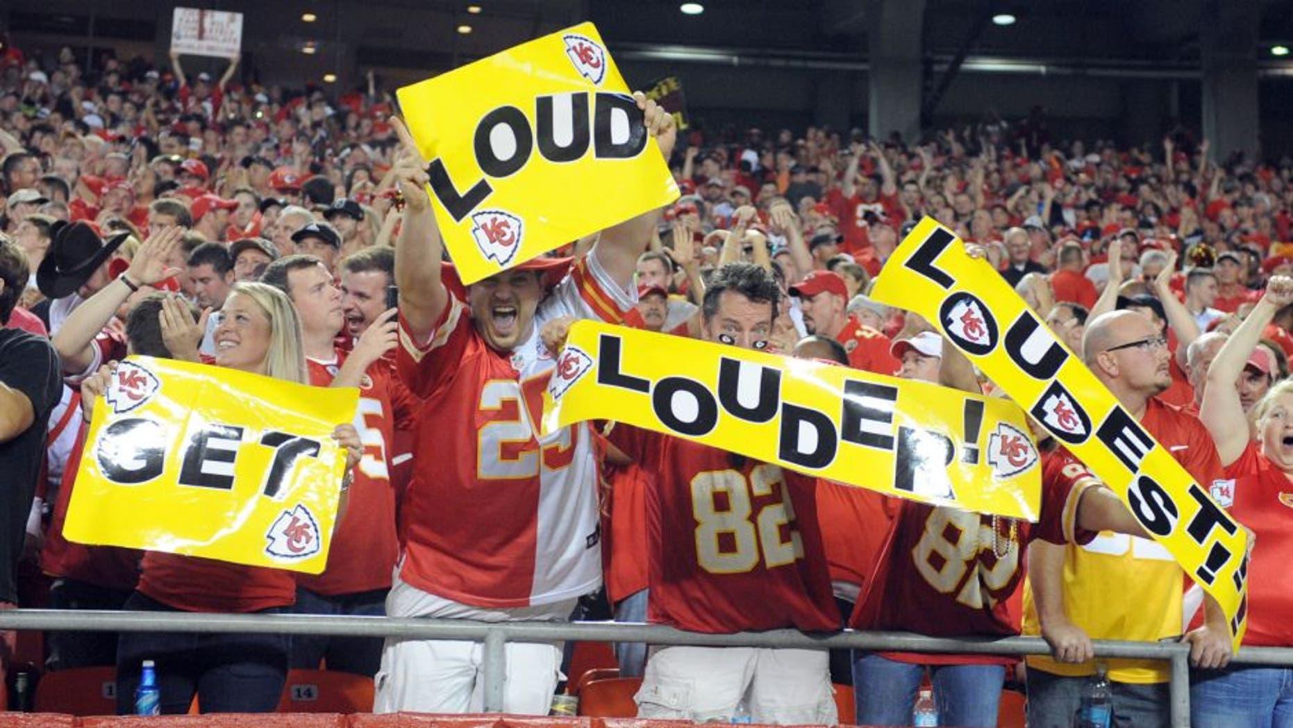 Sep 29, 2014; Kansas City, MO, USA; Kansas City Chiefs fans cheer in the first half against the New England Patriots at Arrowhead Stadium. Kansas City won 41-14. Mandatory Credit: John Rieger-USA TODAY Sports