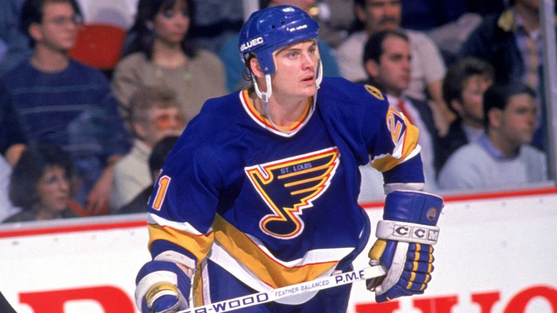 NOVEMBER - 1988: Todd Ewen #21 of the St. Louis Blues skates during a game in November of 1988. (Photo by Bruce Bennett Studios/Getty Images)