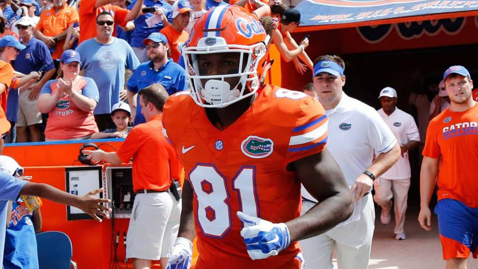 Sep 10, 2016; Gainesville, FL, USA; Florida Gators wide receiver Antonio Callaway (81) runs out onto the field before the game against the Kentucky Wildcats at Ben Hill Griffin Stadium. Mandatory Credit: Kim Klement-USA TODAY Sports