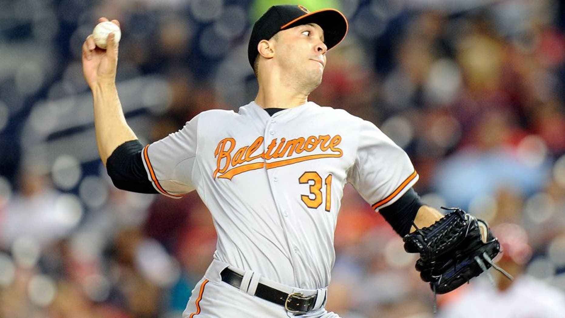 WASHINGTON, DC - SEPTEMBER 22: Ubaldo Jimenez #31 of the Baltimore Orioles pitches in the first inning against the Washington Nationals at Nationals Park on September 22, 2015 in Washington, DC. (Photo by Greg Fiume/Getty Images)