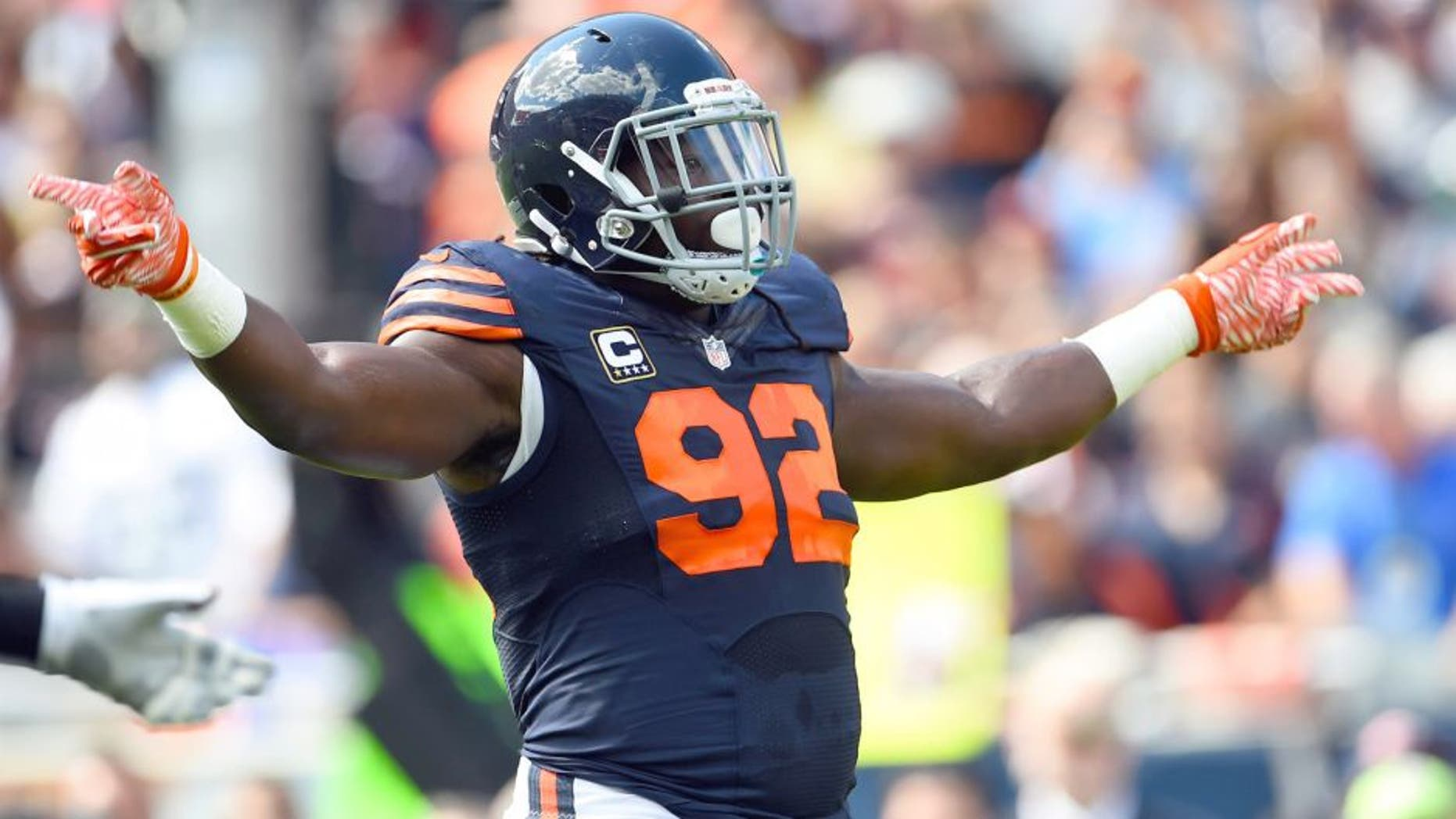 Sep 13, 2015; Chicago, IL, USA; Chicago Bears linebacker Pernell McPhee (92) during the second quarter at Soldier Field. Mandatory Credit: Mike DiNovo-USA TODAY Sports