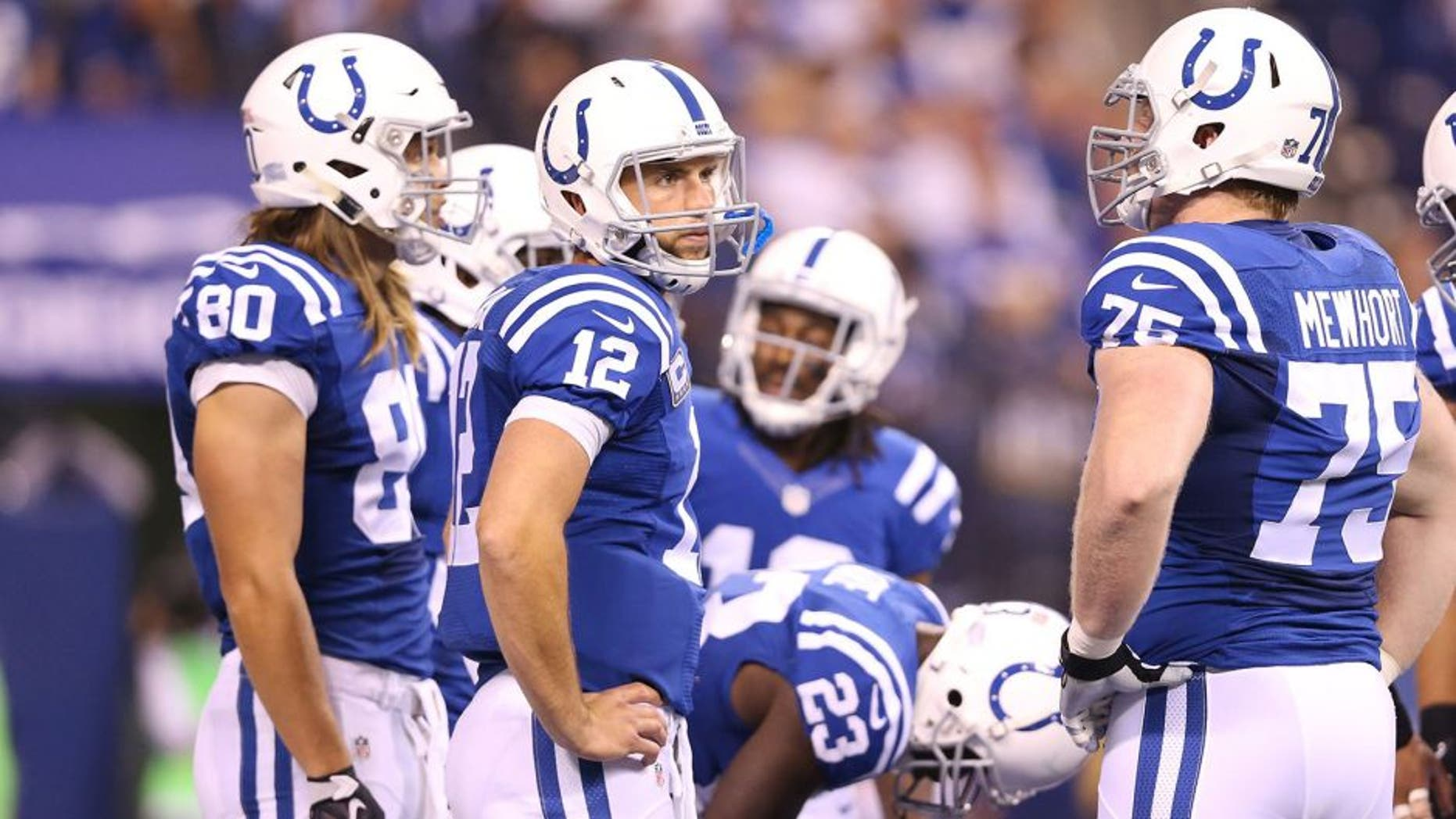 INDIANAPOLIS, IN - SEPTEMBER 21: Andrew Luck of the Indianapolis Colts looks to the bench during the game against the New York Jets at Lucas Oil Stadium on September 21, 2015 in Indianapolis, Indiana. (Photo by Andy Lyons/Getty Images)