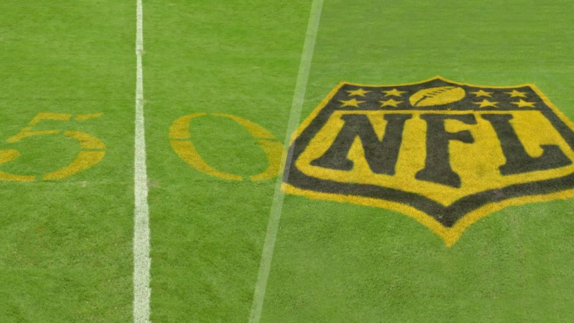Aug 15, 2015; Houston, TX, USA; General view of golden numerals on the 50-yard line to commemorate Super Bowl 50 during the preseason NFL game between San Francisco 49ers and the Houston Texans at NRG Stadium. Mandatory Credit: Kirby Lee-USA TODAY Sports Aug 15, 2015; Houston, TX, USA; General view of golden NFL shield logo in the end zone to commemorate Super Bowl 50 during the preseason NFL game between San Francisco 49ers and the Houston Texans at NRG Stadium. Mandatory Credit: Kirby Lee-USA TODAY Sports