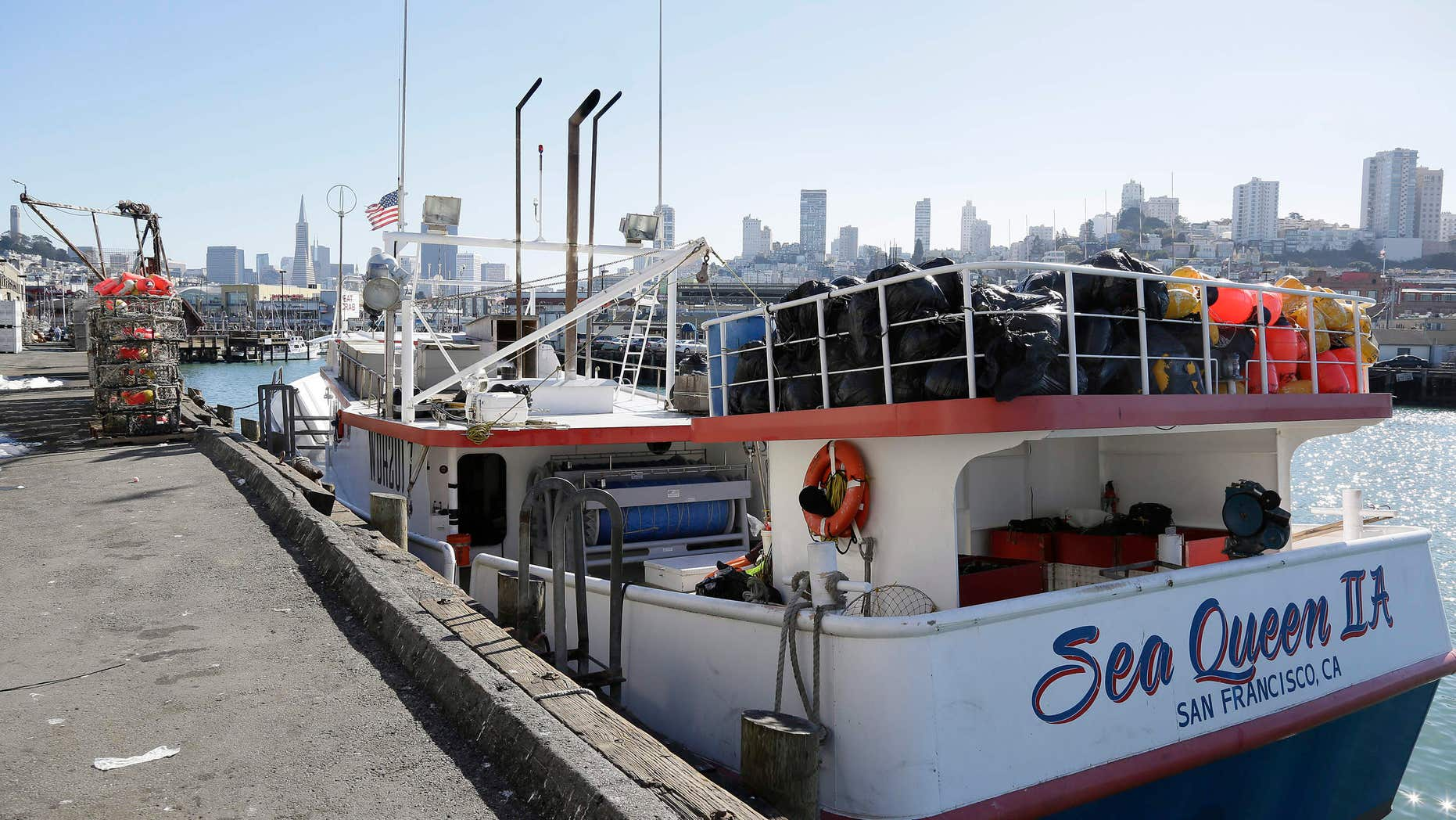 In this photo taken Friday, Nov. 6, 2015, is the Sea Queen II docked at Fisherman's Wharf in San Francisco.