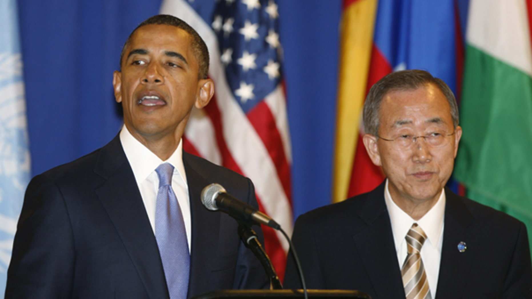 Sept. 23: President Obama gives a toast at a lunch hosted by United Nations Secretary-General Ban Ki-moon, right, during the 65th session of the U.N. General Assembly at U.N. headquarters.