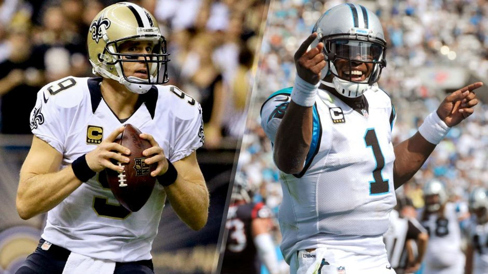 Quarterbacks Drew Brees, left, of New Orelans and Cam Newton of Carolina will play for the NFC South division title Sunday.